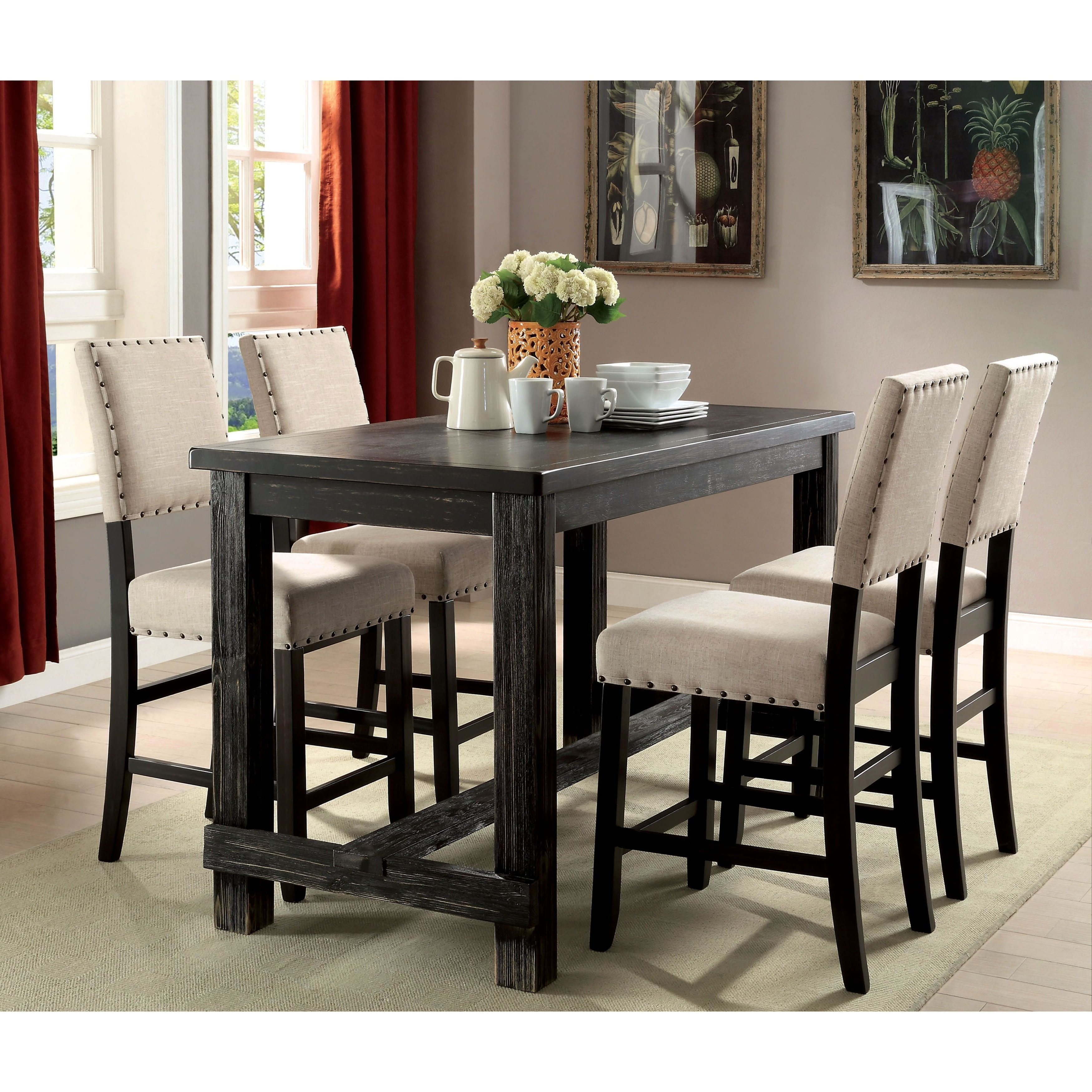 Dining Table Sets For 2 Intended For Most Up To Date Furniture Of America Telara Contemporary Antique Black Counter (View 22 of 25)
