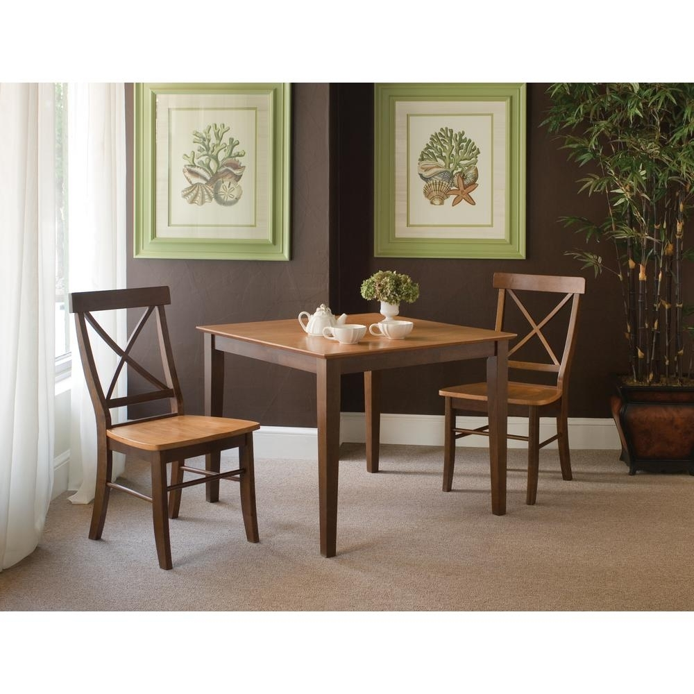 Dining Table Sets For 2 Pertaining To Well Known International Concepts X Back 3 Piece Cinnamon And Espresso Dining (View 14 of 25)