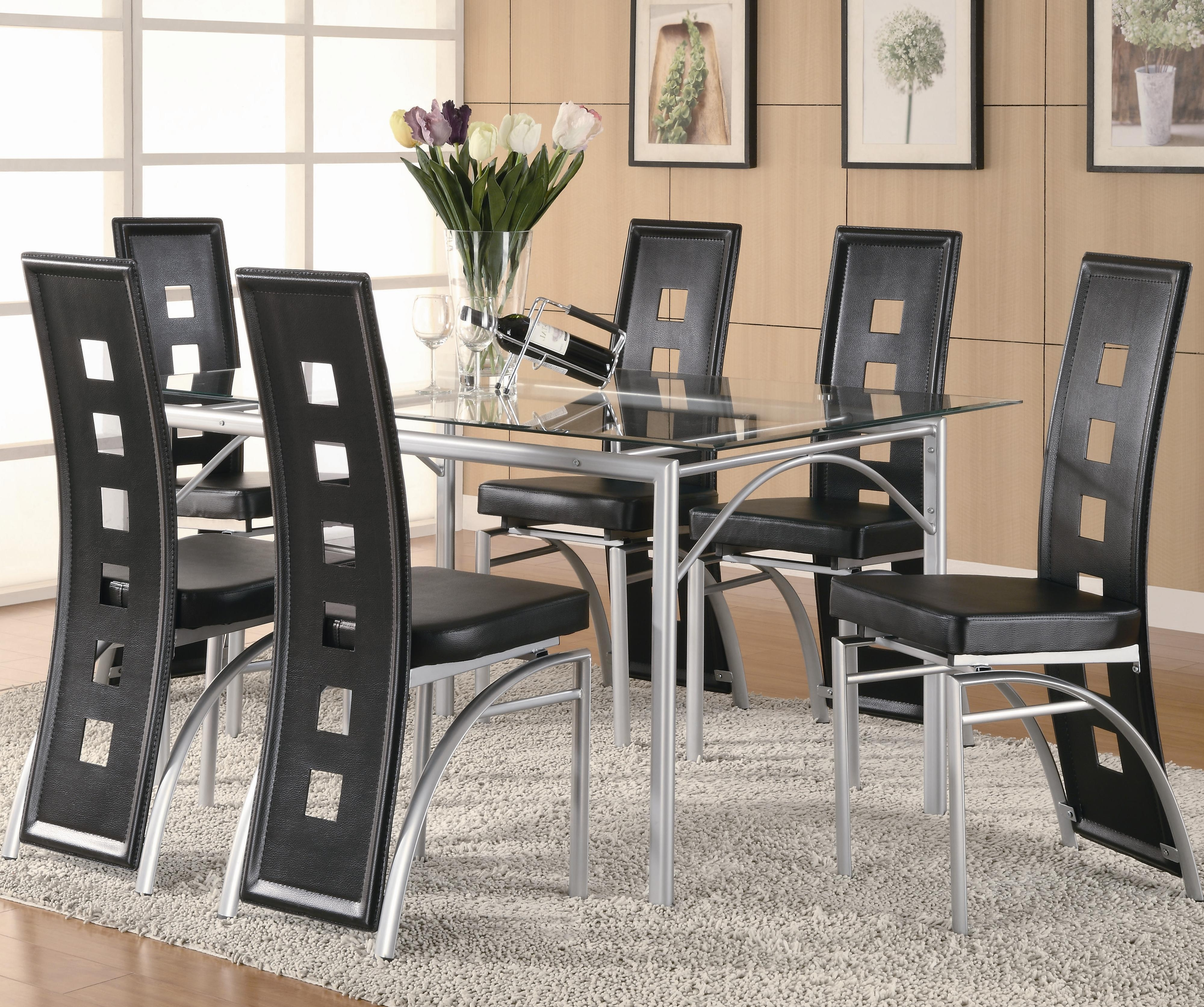 Dining Table Sets Pertaining To Most Popular Coaster Los Feliz Contemporary Metal Table And Black Upholstered (View 7 of 25)