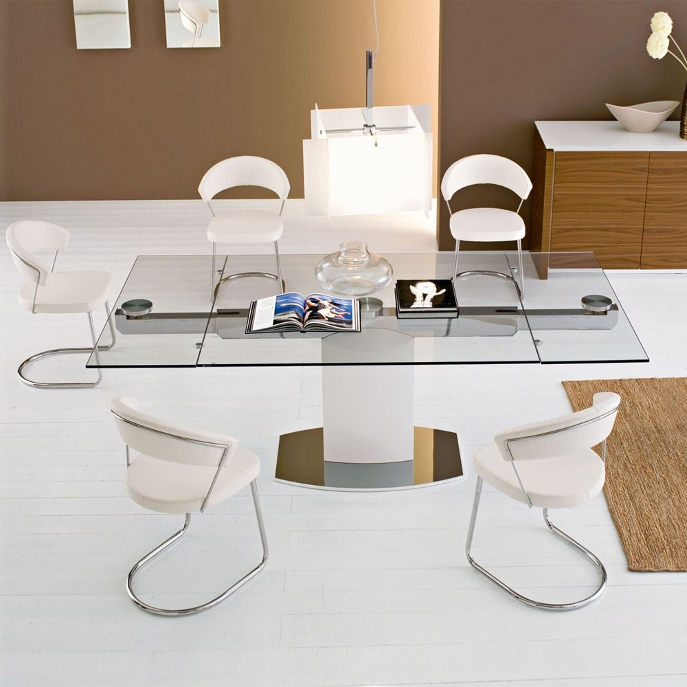 Dining Table: Terrific Modern White Dining Room Decoration Using For Best And Newest White Square Extending Dining Tables (View 23 of 25)