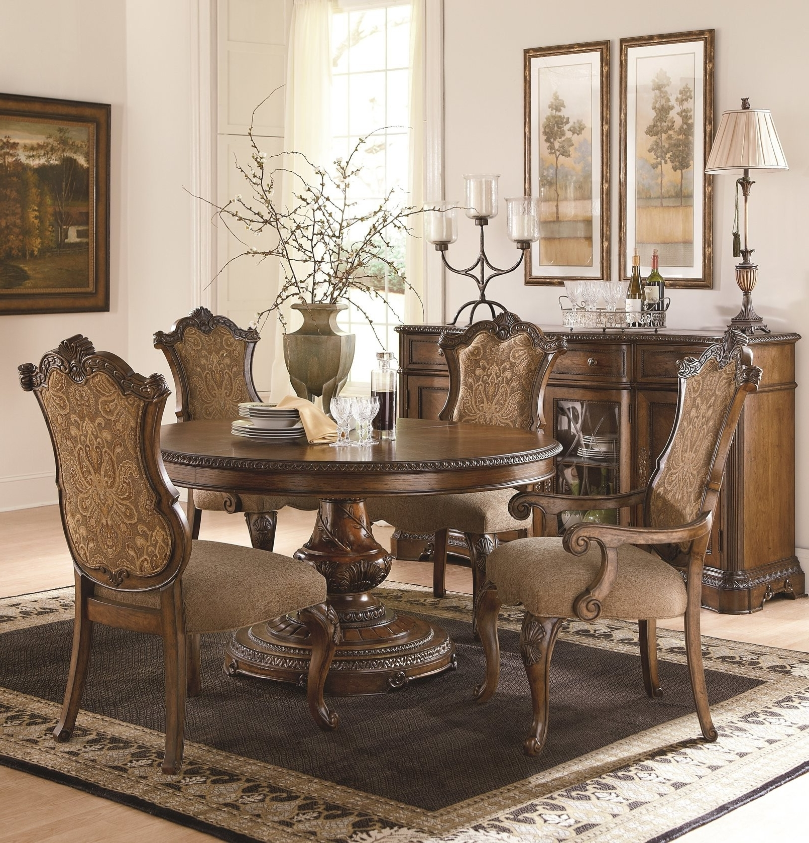Dining Table Upholstered Chairs Unique The Pemberleigh Round Table inside Favorite Jaxon 7 Piece Rectangle Dining Sets With Upholstered Chairs