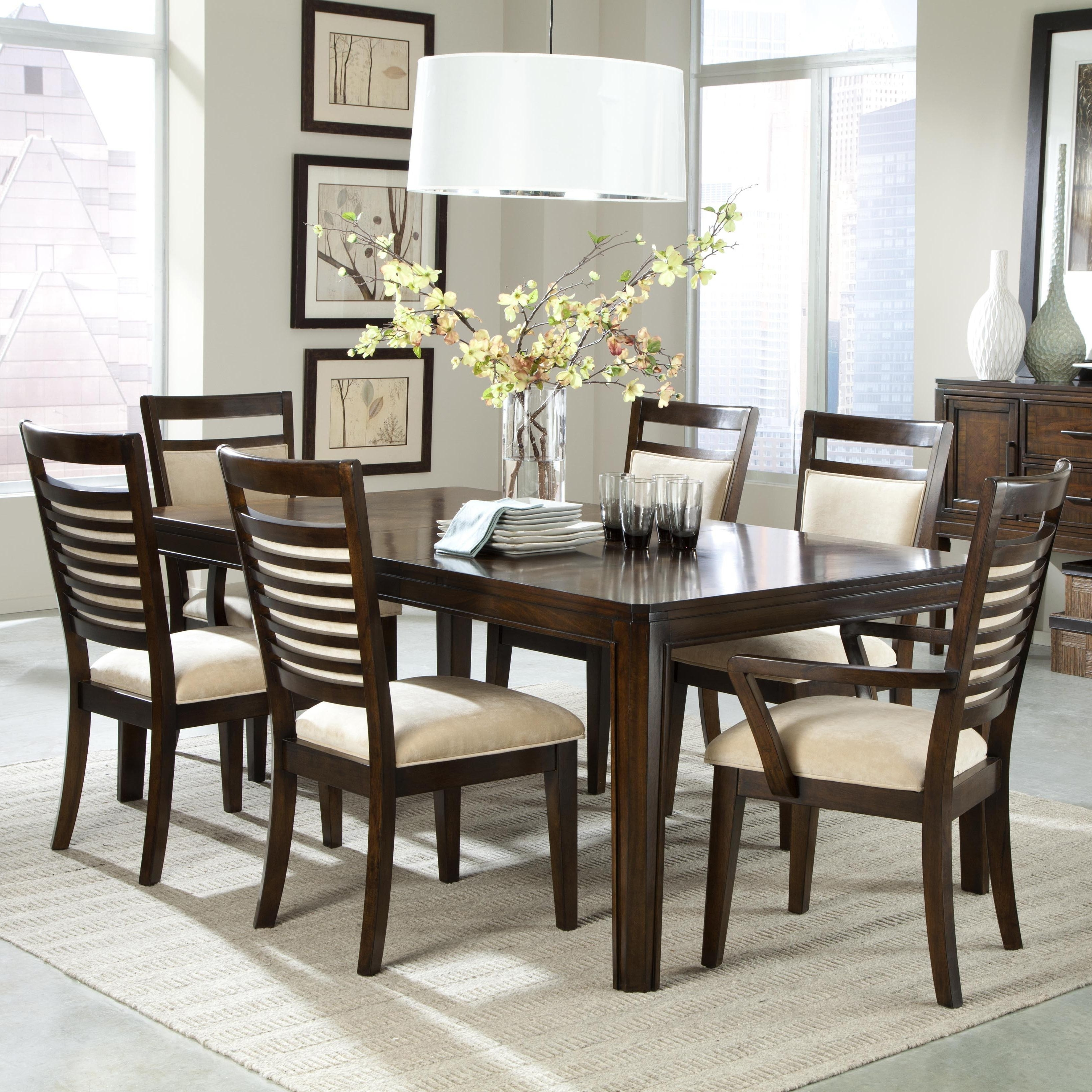 Dining Table Upholstered Chairs Unique The Pemberleigh Round Table inside Trendy Jaxon Grey 7 Piece Rectangle Extension Dining Sets With Wood Chairs