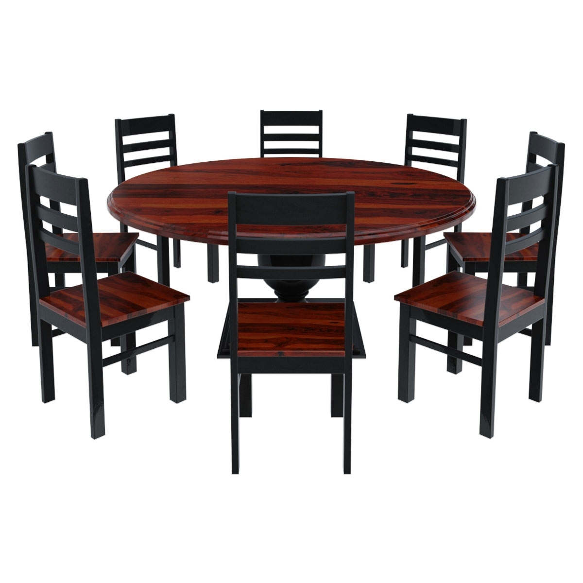 Dining Tables 8 Chairs Set For Most Recently Released Illinois Modern Two Tone Large Round Dining Table With 8 Chairs Set (View 5 of 25)