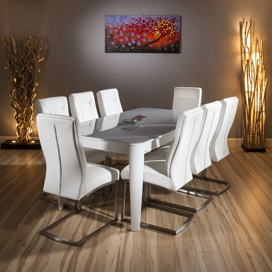Dining Tables 8 Chairs Set With Most Recently Released Luxury 1.8 2.8 Extending Glass Top Dining Table Set White 8 Chairs (Gallery 17 of 25)