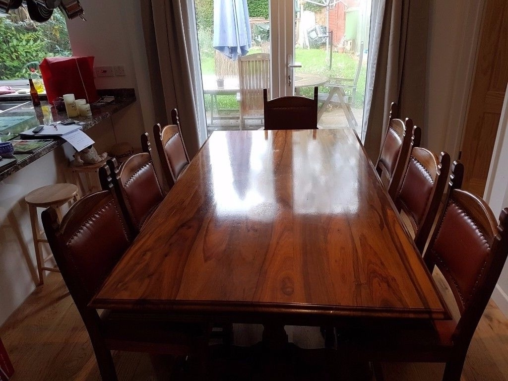 Dining Tables 8 Chairs With Most Popular Dining Table, 8 Chairs, Sideboard And Side Table (View 25 of 25)