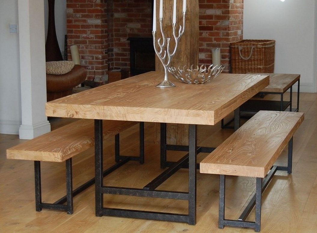 Dining Tables And 2 Benches Pertaining To Well Known Modern Bench Style Dining Table Set Ideas Homesfeed Ashley Furniture (View 19 of 25)