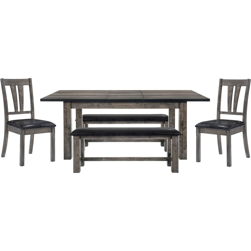 Dining Tables And 2 Benches Within Popular Drexel 5 Piece Weathered Gray Dining Set: Table, 2 Side Chairs And  (View 11 of 25)