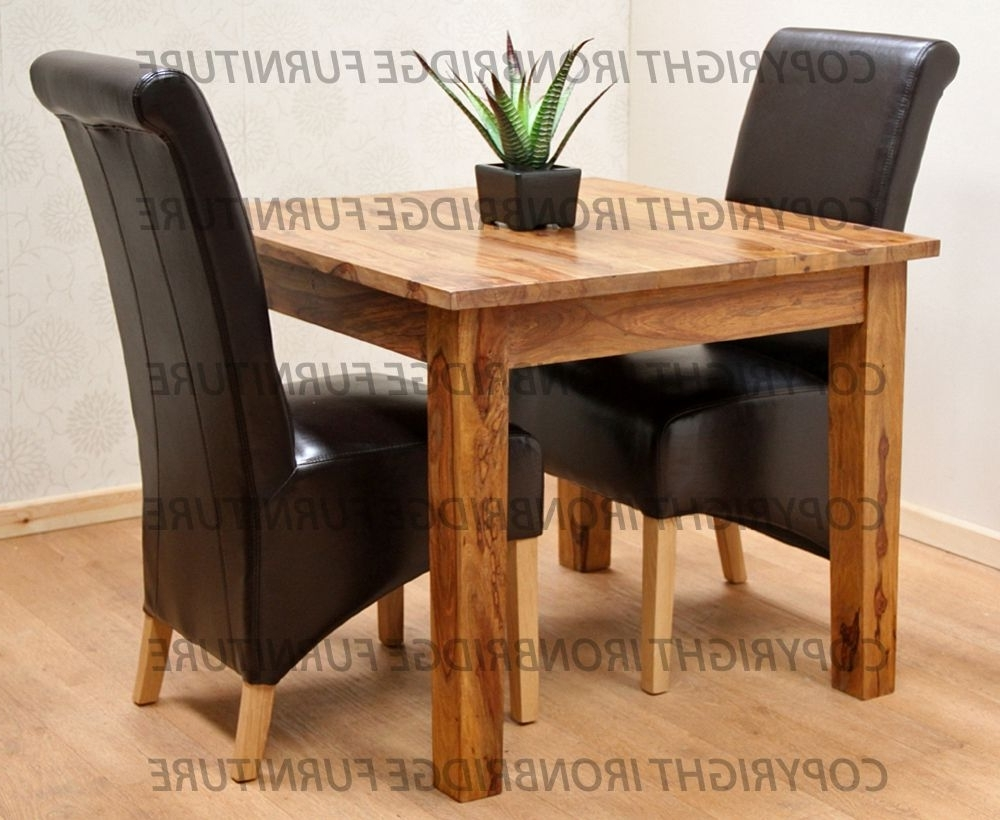 Dining Tables And 2 Chairs With Regard To Fashionable Ironbridge 90X90Cm Dining Table & 2 Black Faux Leather Chairs (Gallery 5 of 25)