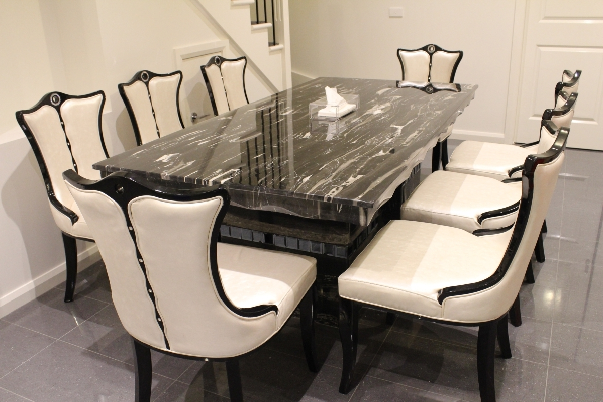 Dining Tables And 8 Chairs For Sale with Favorite Arezzo Marble Dining Table With 8 Chairs Marble King