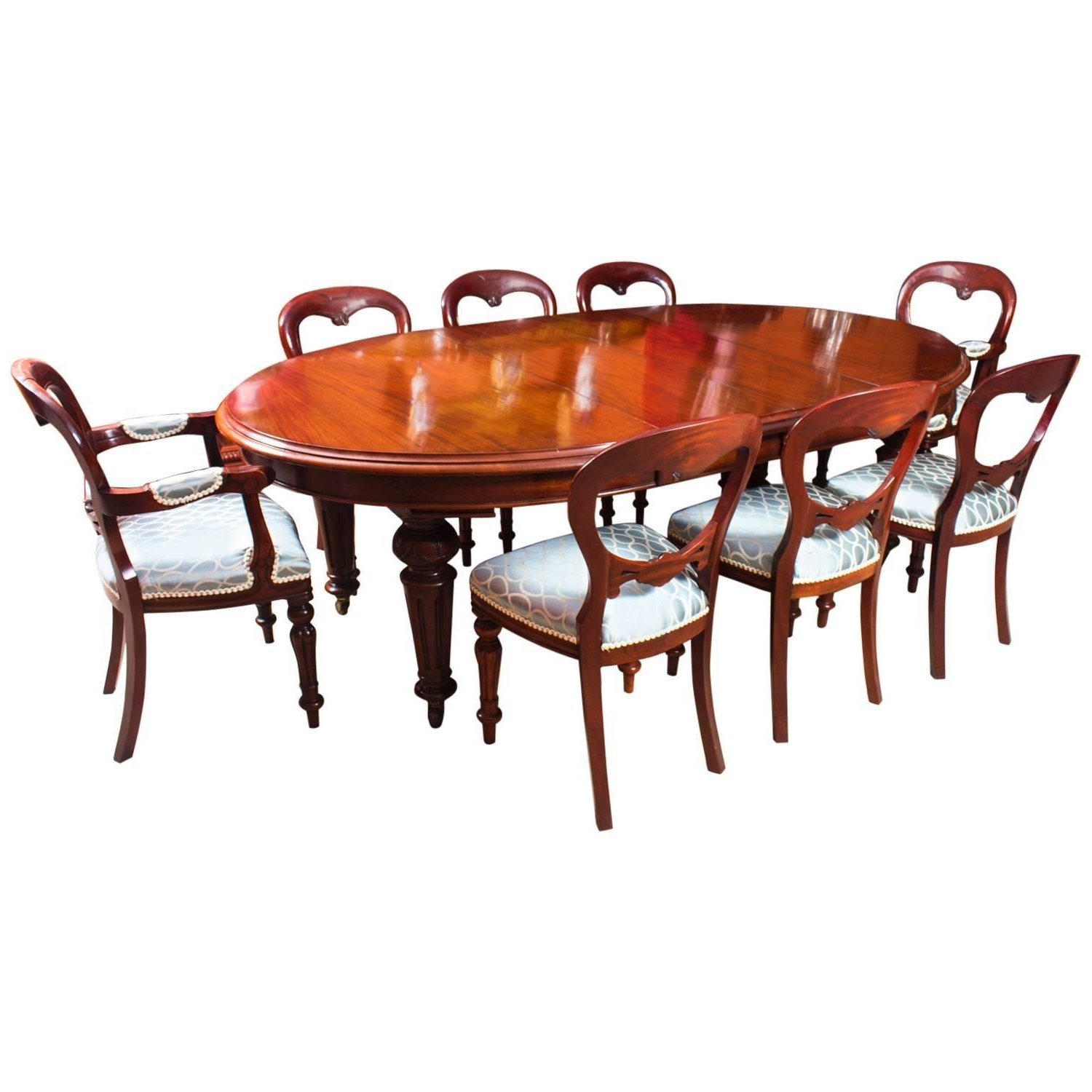 Dining Tables And 8 Chairs For Sale Within Most Up To Date Antique Victorian Oval Dining Table 8 Chairs Antique Wooden Dining (View 15 of 25)