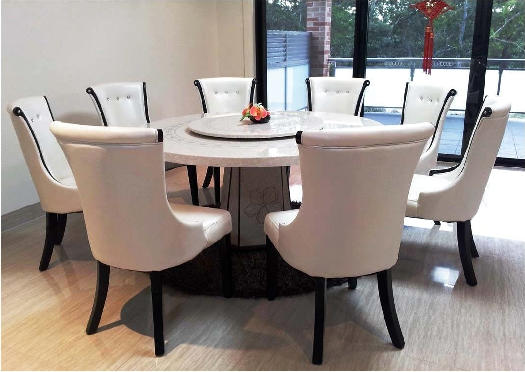 Dining Tables And 8 Chairs Intended For Fashionable Extraordinary Marble Top Round Dining Table And 8 Chairs With (View 7 of 25)