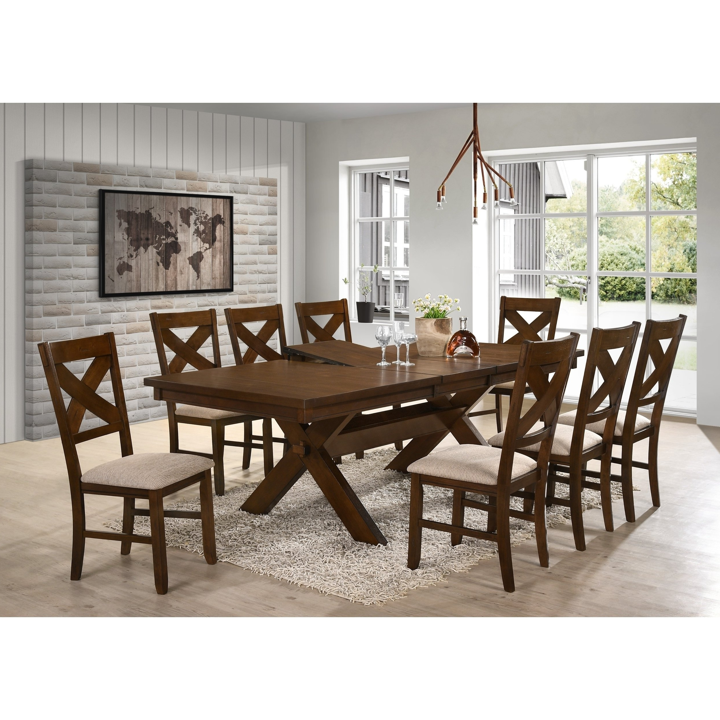 Dining Tables And 8 Chairs Regarding Popular Shop 9 Piece Solid Wood Dining Set With Table And 8 Chairs – Free (View 10 of 25)