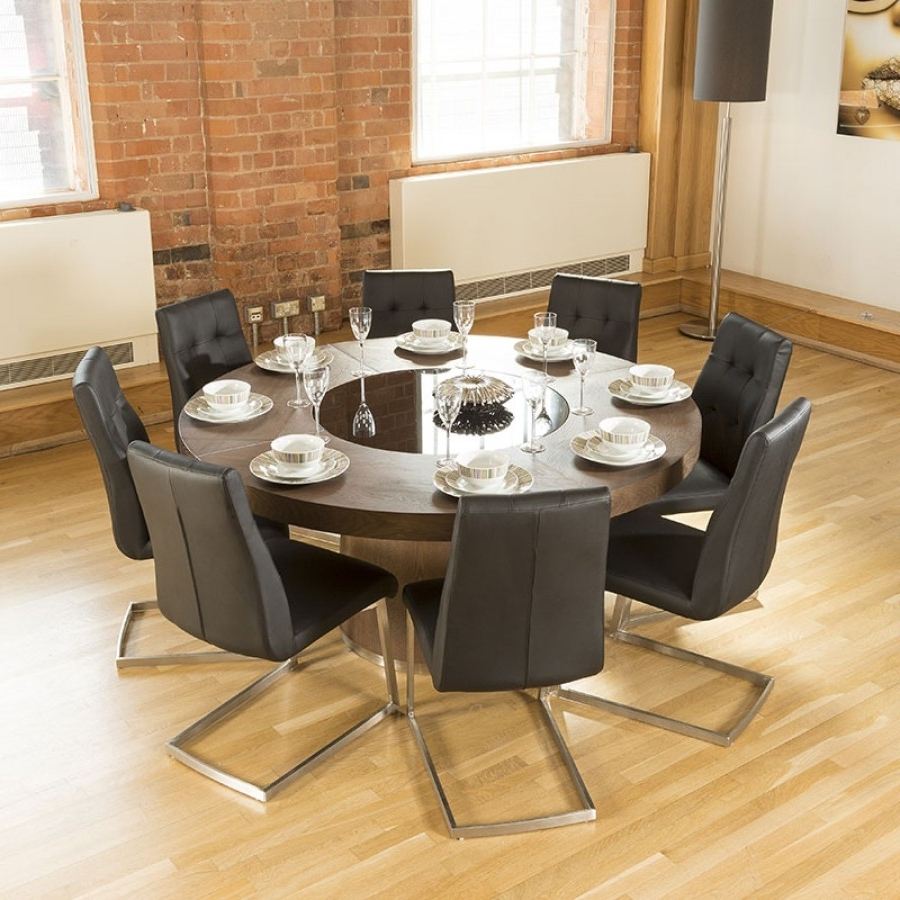 Dining Tables And 8 Chairs Regarding Trendy Luxury Large Round Elm Dining Table Lazy Susan + 8 Chairs 4163 Black (View 24 of 25)