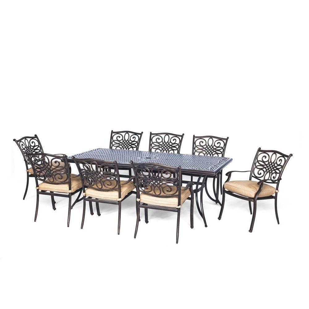 Dining Tables And 8 Chairs Sets With Regard To Widely Used Hanover Traditions 9 Piece Aluminium Rectangular Patio Dining Set (View 15 of 25)