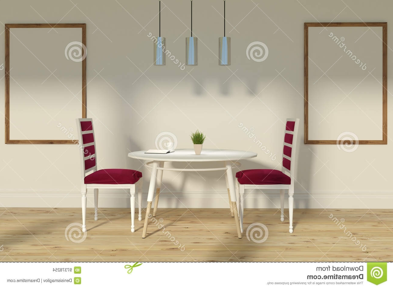 Dining Tables And Chairs For Two In Trendy Red Chairs Dining Room, Two Posters Stock Illustration (View 5 of 25)