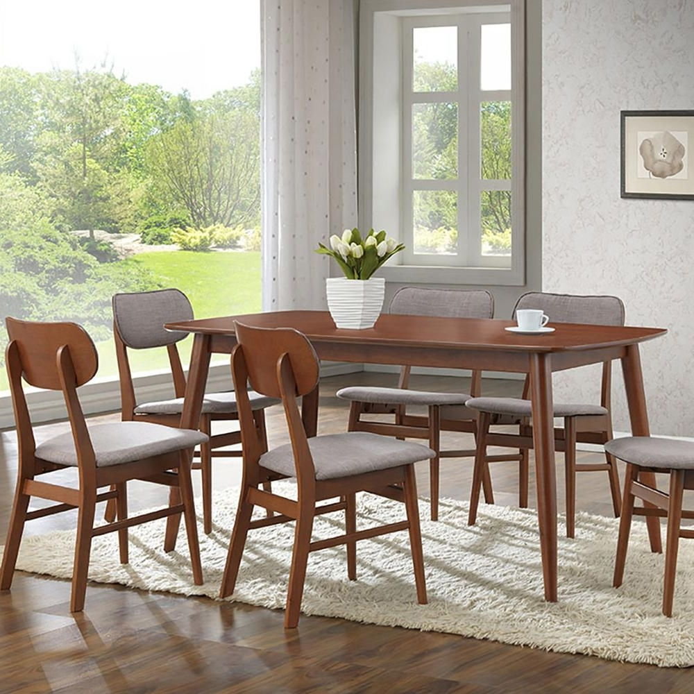 Dining Tables And Fabric Chairs With Latest Baxton Studio Sacramento 7 Piece Gray Fabric Upholstered Dining Set (View 16 of 25)