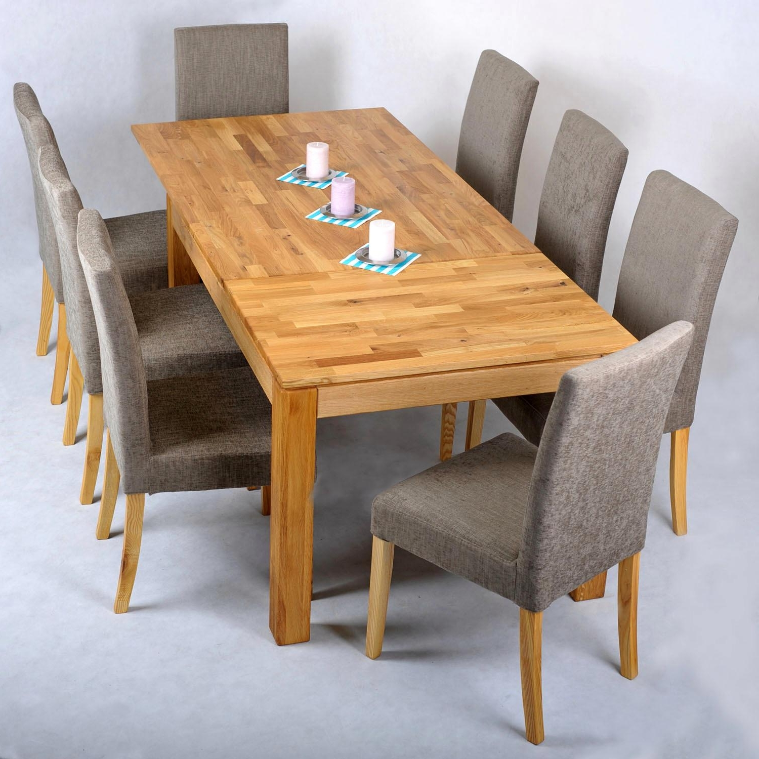 Dining Tables And Fabric Chairs With Preferred Staggering Oak Extending Dining Table Seater Modern Extending Table (View 25 of 25)