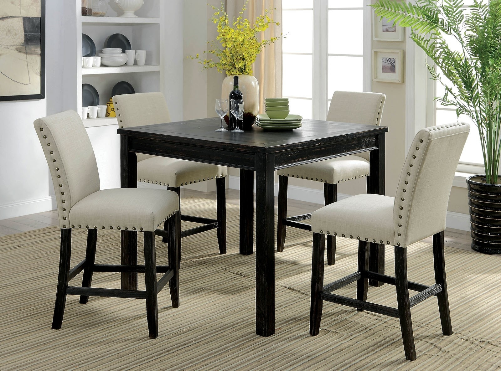 Dining Tables And Fabric Chairs within Popular Kristie Rustic Style Antique Black Finish 5Pc Counter Height Dining