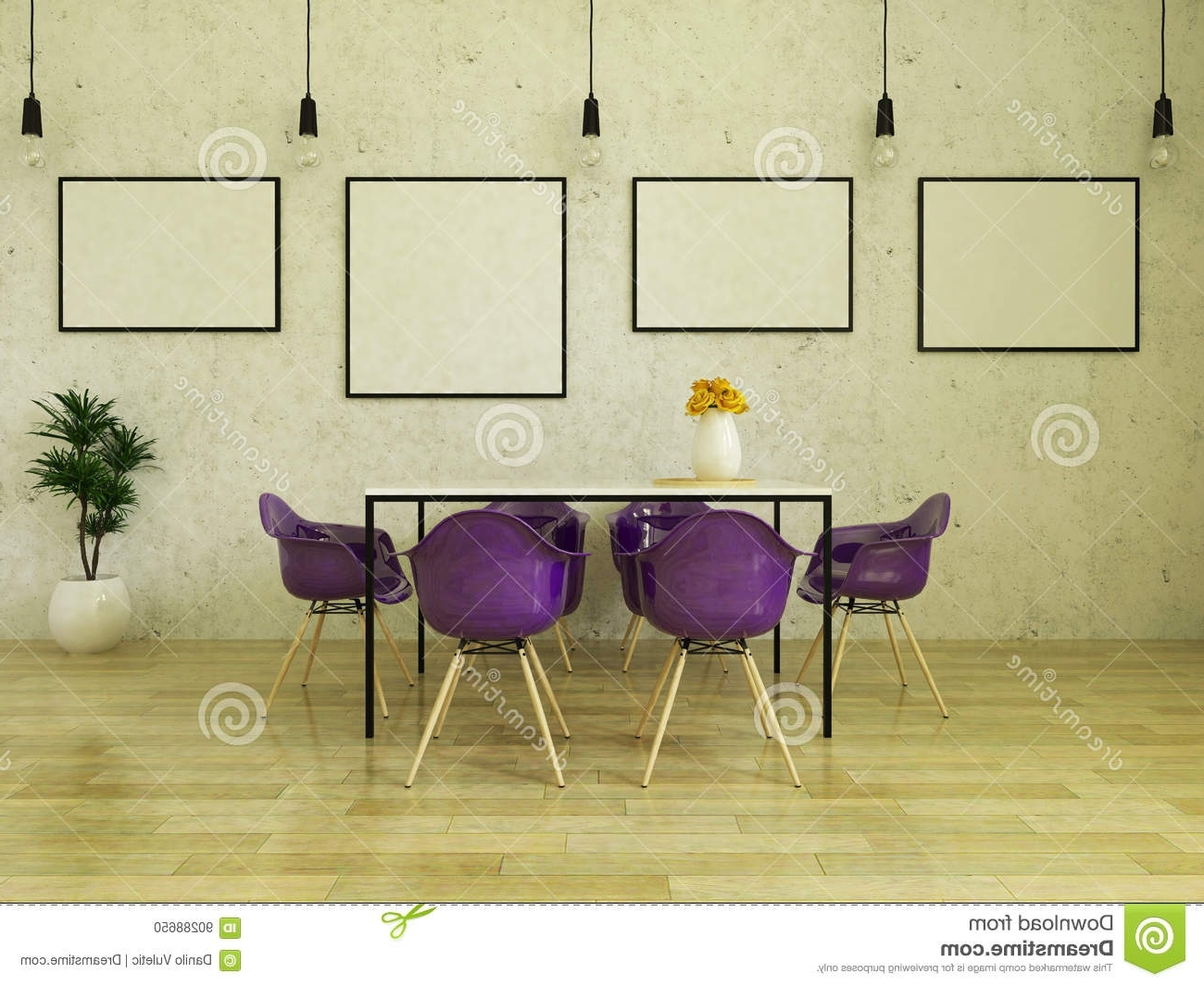 Dining Tables And Purple Chairs For Trendy 3D Render Of Beautiful Dining Table With Purple Chairs Stock (View 4 of 25)