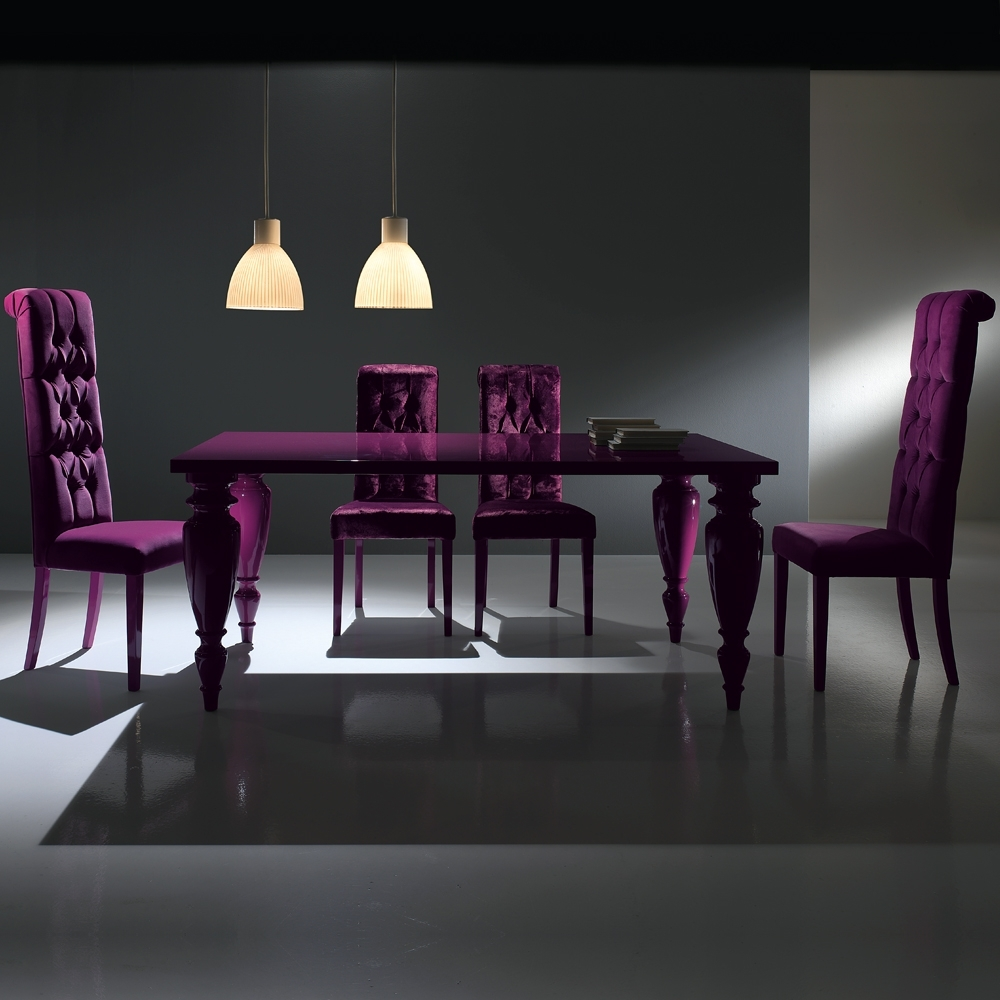 Dining Tables And Purple Chairs Inside Well Known 9. Purple Dining Room Chairs New Chair Slipcovers With Regard To 22 (Gallery 17 of 25)
