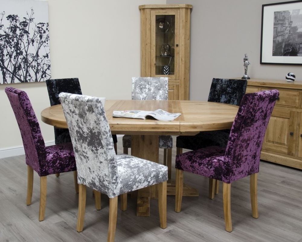 Dining Tables And Purple Chairs with Fashionable Buy Homestyle Gb Deluxe Oak Round Extending Dining Set With 6