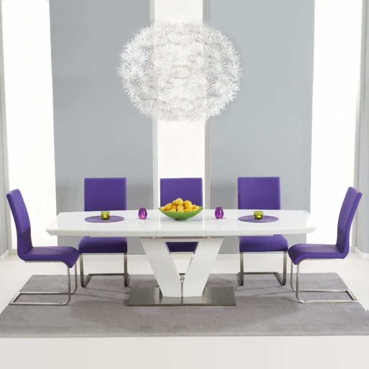 Dining Tables And Purple Chairs With Regard To Most Recently Released Malibu Extending White Gloss Dining Set With Coloured Chairs (View 25 of 25)