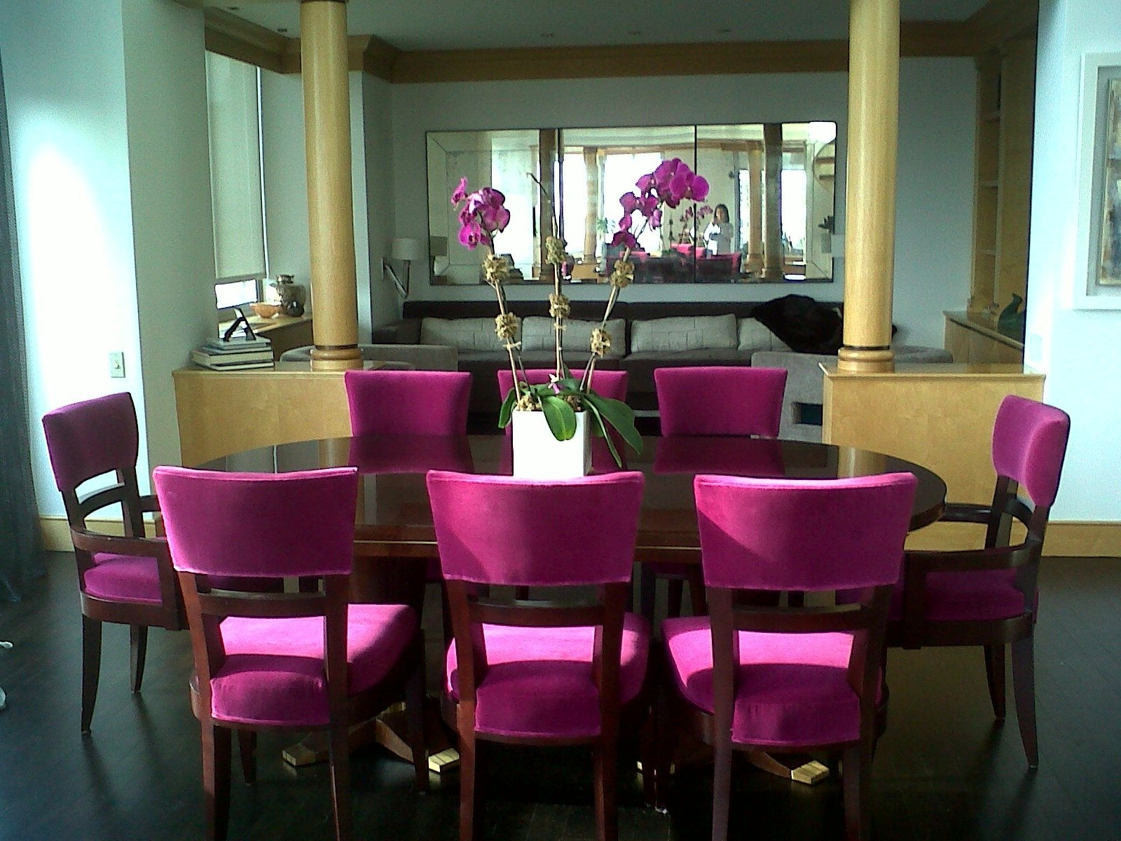 Dining Tables And Purple Chairs Within Most Popular Wonderful Purple Dining Room Sets With Oval Wooden Dining Table And (View 4 of 25)