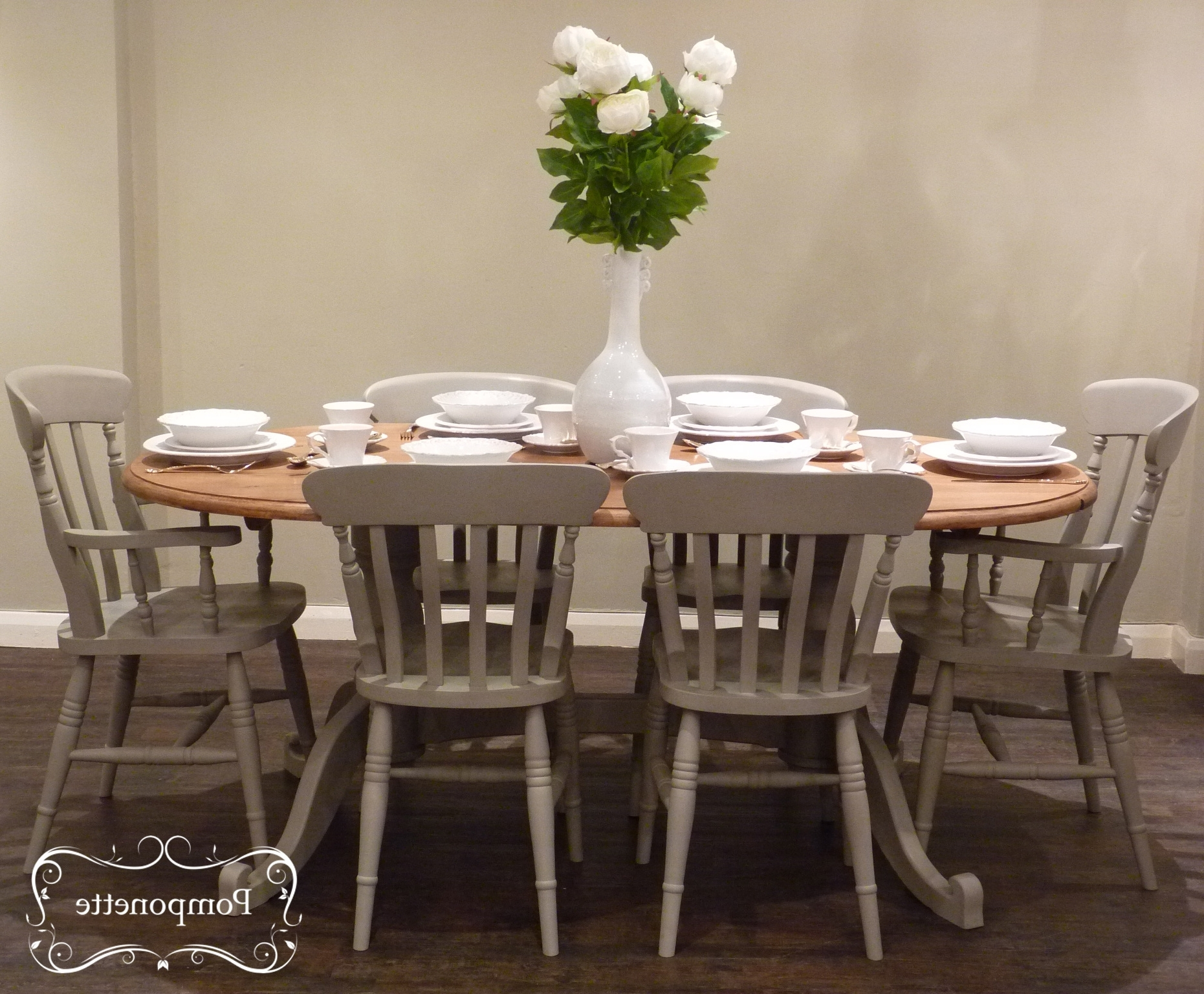 Dining Tables And Six Chairs For Most Popular Oval Dining Table & Chairspomponette (View 14 of 25)