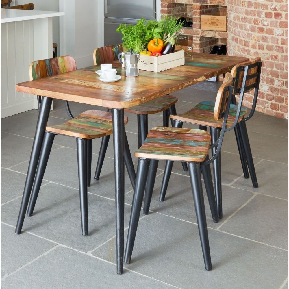 Dining Tables And Six Chairs for Most Up-to-Date Coastal Chic Large Dining Table And Six Chairs Set Indian Wood