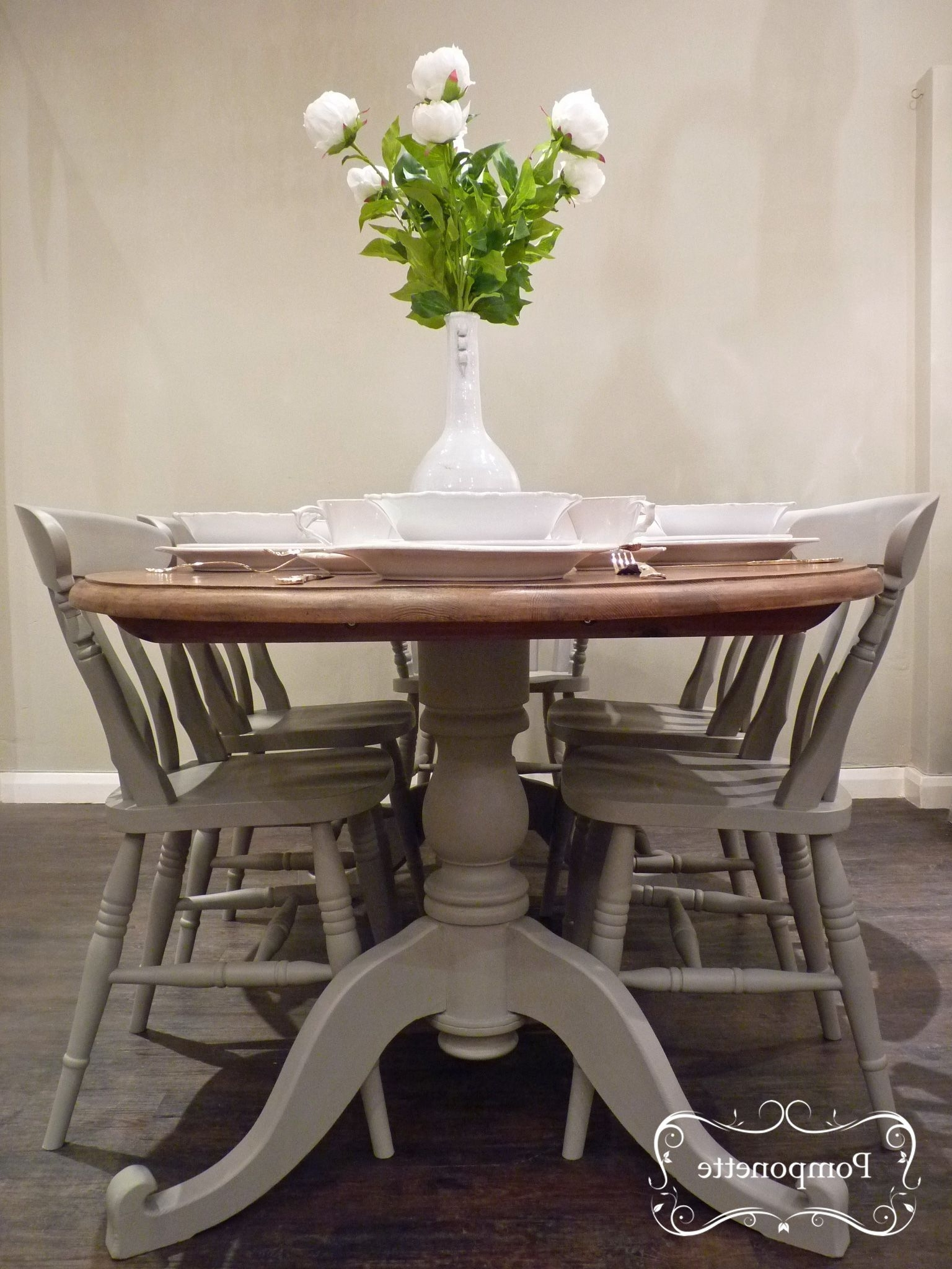 Dining Tables And Six Chairs For Well Known Oval Dining Table And Six Chairs. Pedestal Detail (View 9 of 25)