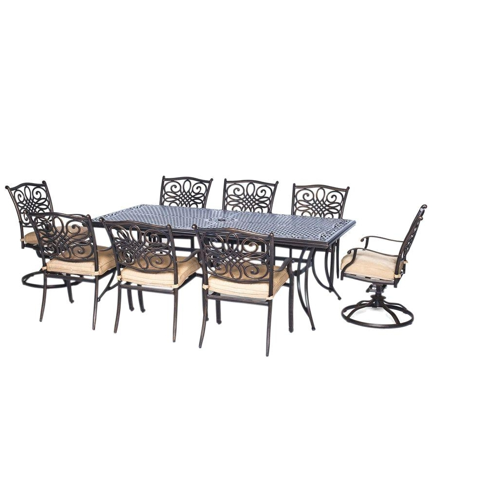 Dining Tables And Six Chairs Intended For Well Known Hanover Traditions 9 Pc Aluminium Rectangular Patio Dining Set With (View 10 of 25)