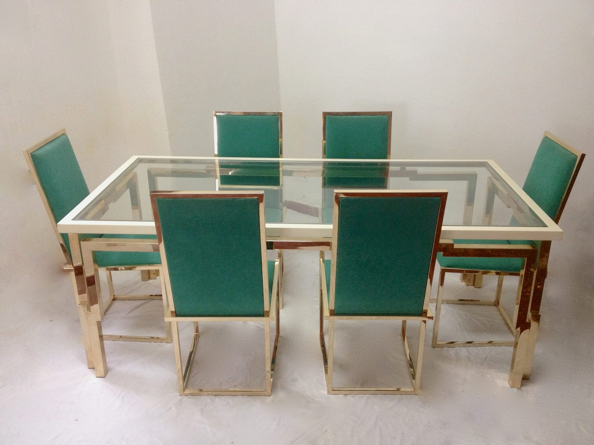 Dining Tables And Six Chairs throughout Most Current Romeo Rega (Att.) Double Frame Dining Table With Six Chairs