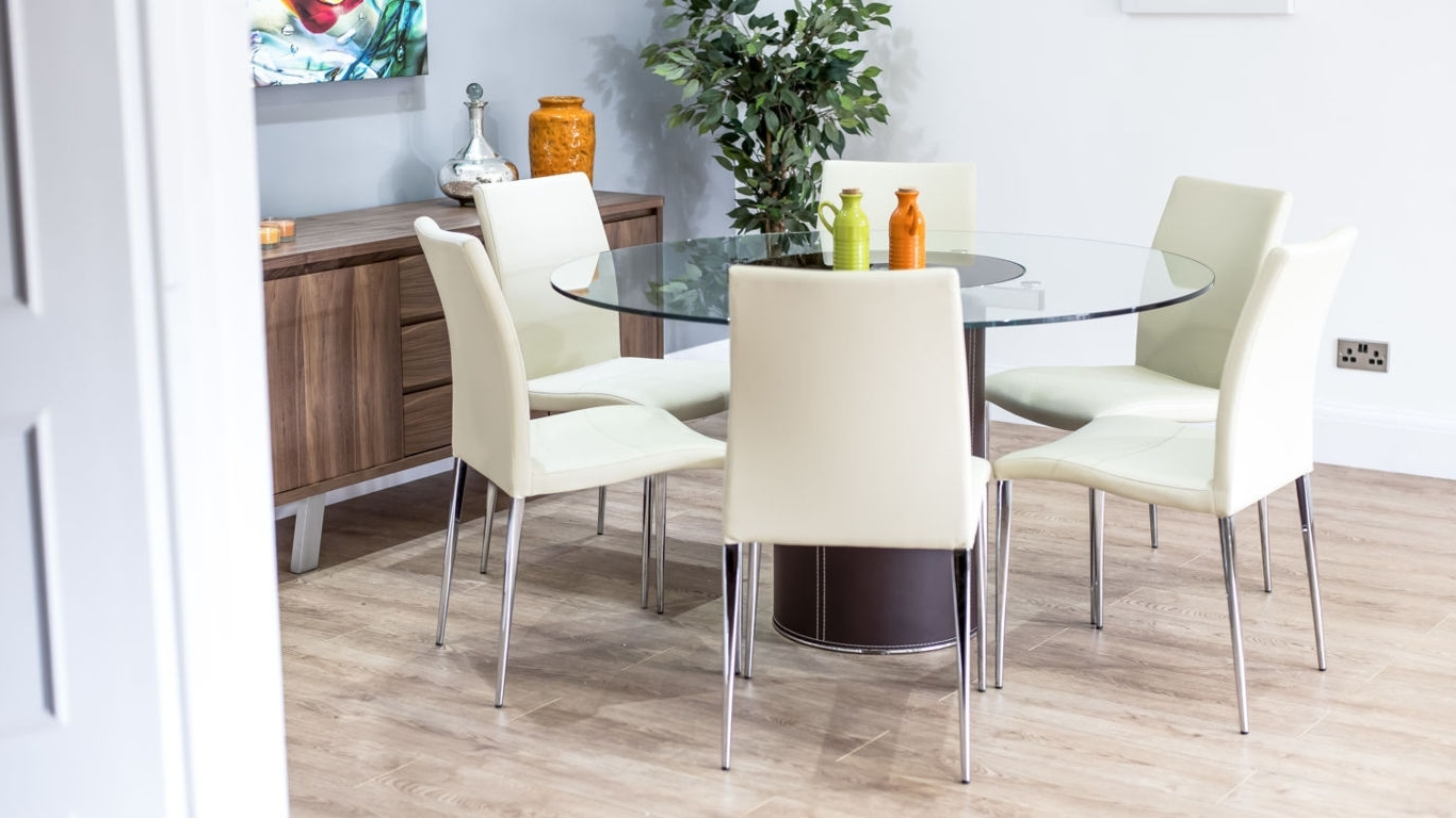 Dining Tables. Awesome Round Glass Dining Table For 6: Round-Glass throughout Well known Glass Dining Tables With 6 Chairs