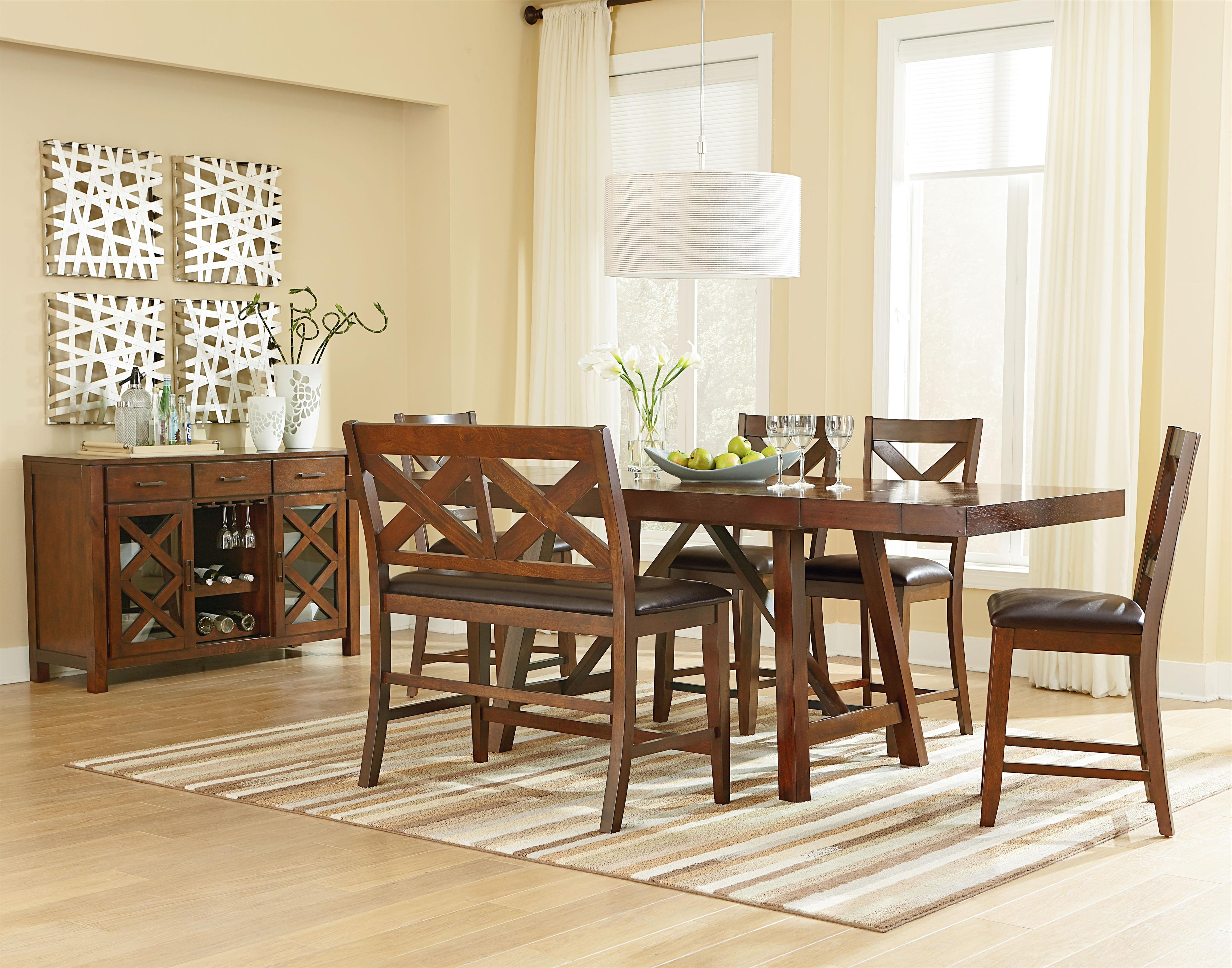 Dining Tables Bench Seat With Back inside Well-known Omaha Brown (16180)Standard Furniture - Wayside Furniture