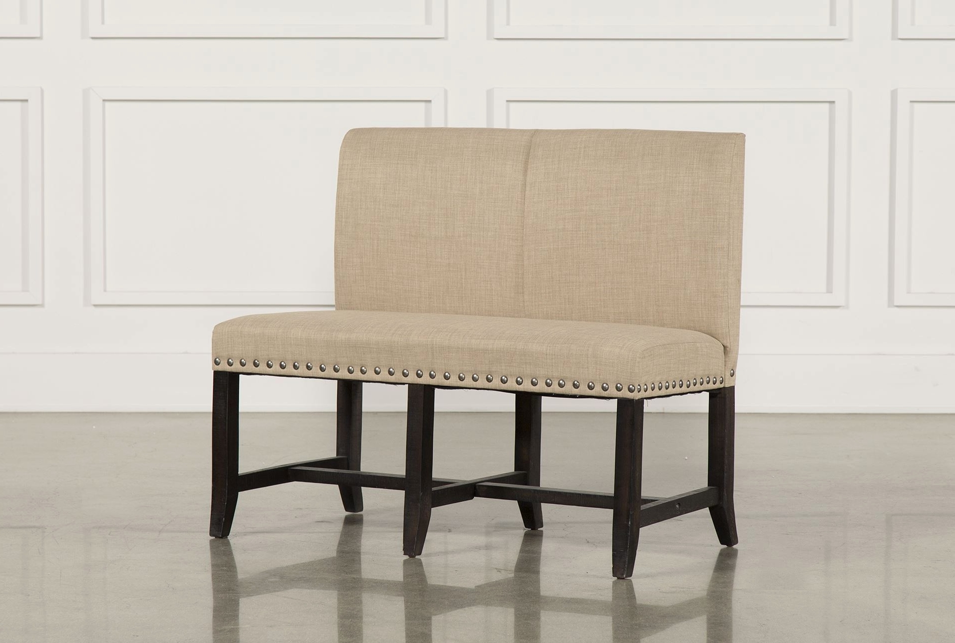 Dining Tables Bench Seat With Back intended for Well known Ideal Grey Upholstered Dining Chairs Decofurnish - Upholstered