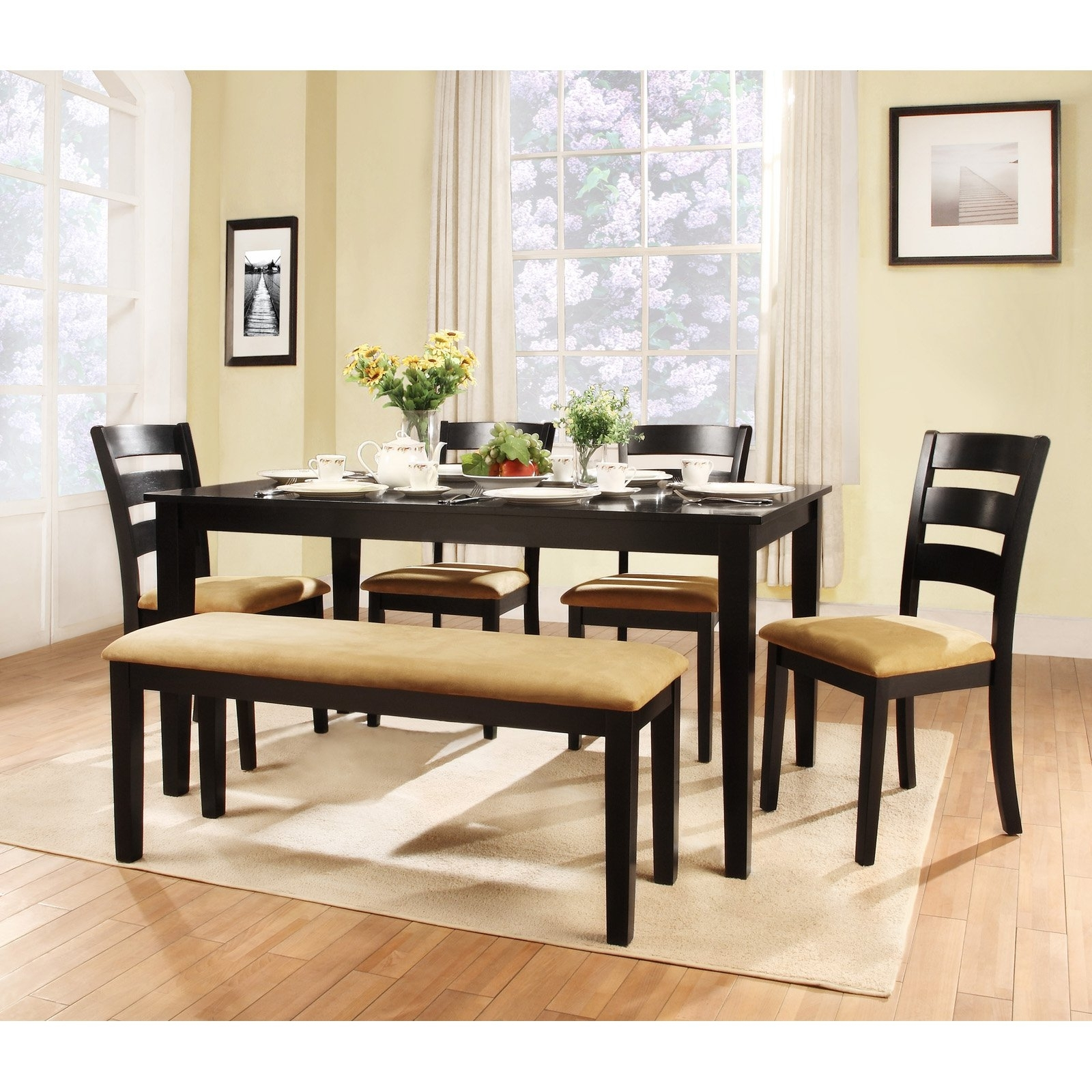 Dining Tables Bench Seat With Back with Well-liked Homelegance Tibalt 6 Pc. Rectangle Black Dining Table Set - 60 In