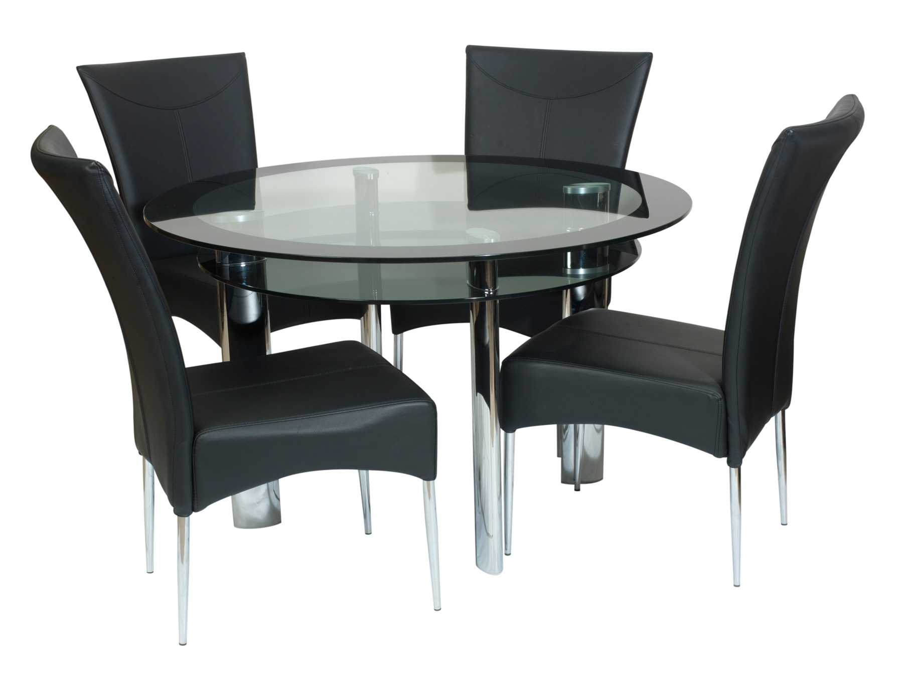 Dining Tables Black Glass for Best and Newest Black Glass Dining Table Round : House Photos - Perfect Tempered