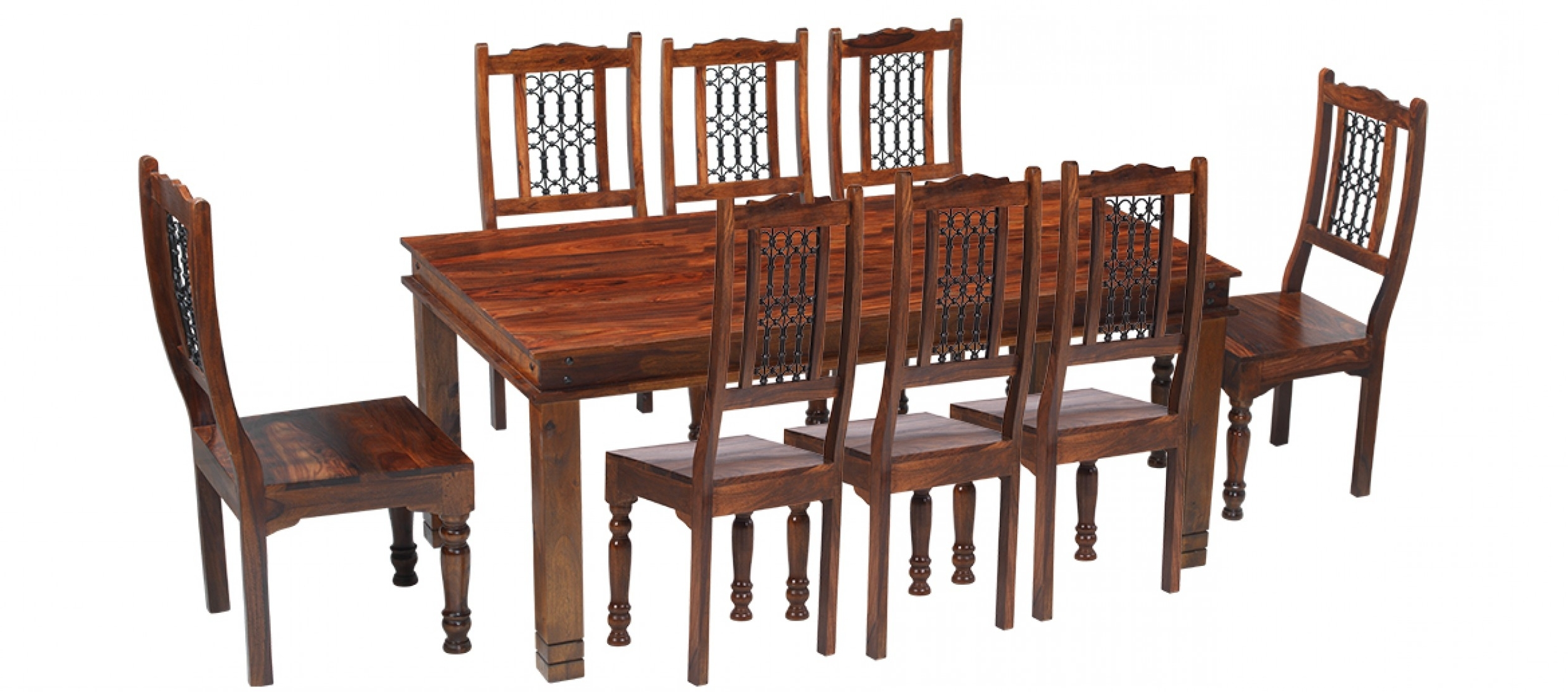 Dining Tables Chairs For Well Known Jali Sheesham 200 Cm Chunky Dining Table And 8 Chairs (View 7 of 25)