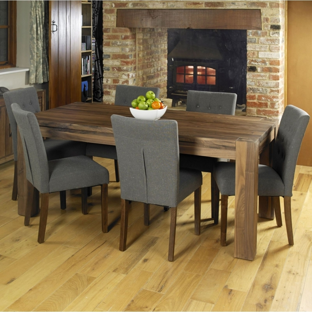 Dining Tables Chairs pertaining to Recent Mayan Walnut Dark Wood Modern Furniture Large Dining Table And Six