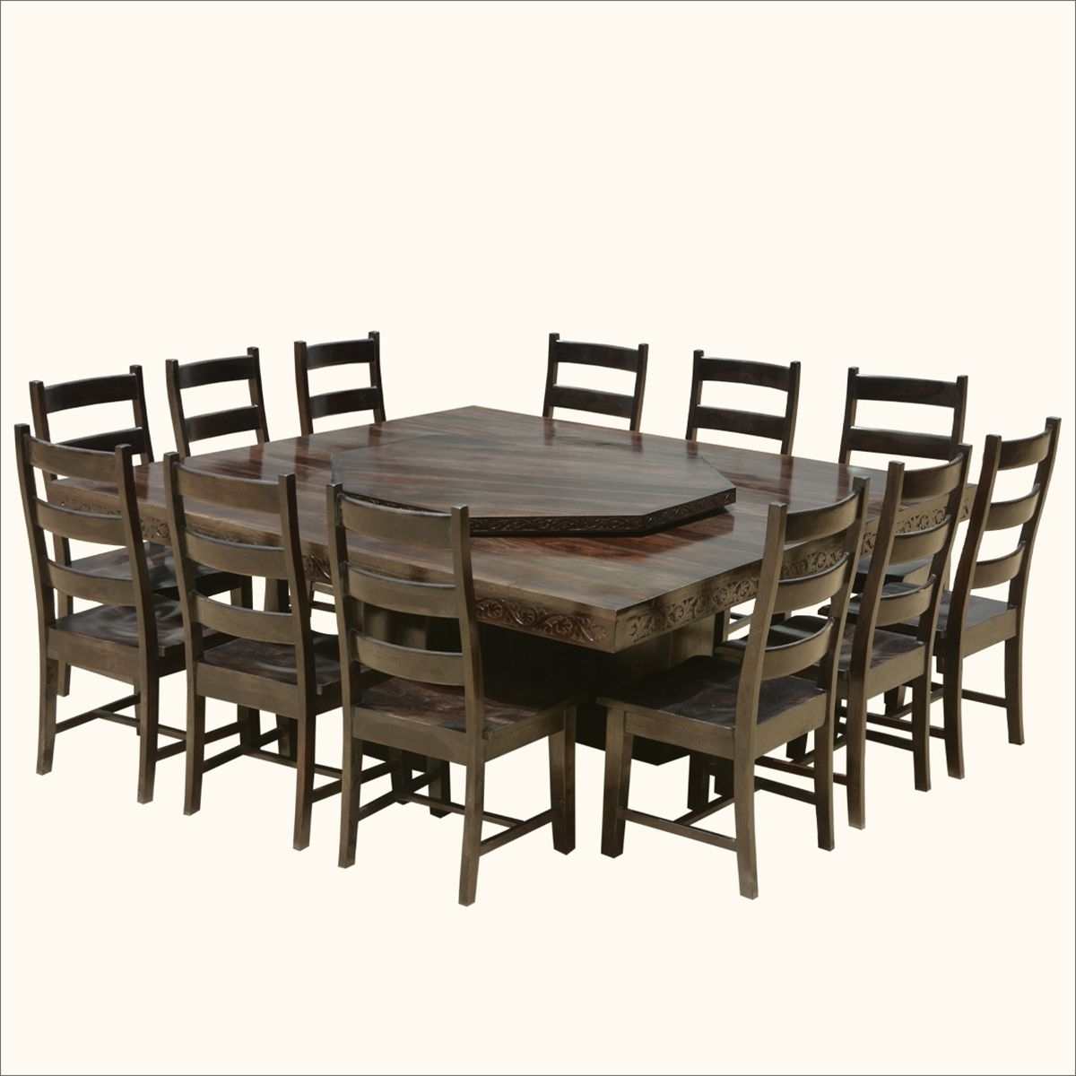 Dining Tables Chairs With Regard To Famous Modern Pioneer Solid Wood Lazy Susan Pedestal Dining Table & Chair (Gallery 16 of 25)