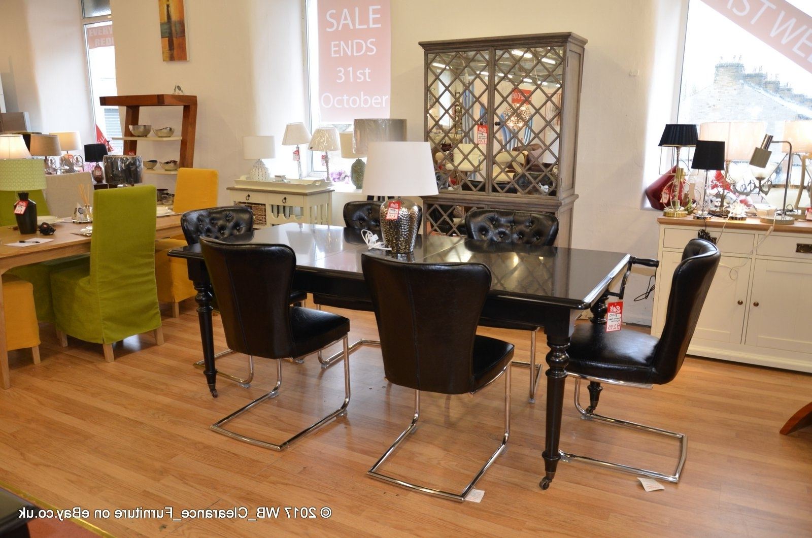 Dining Tables : Eichholtz Dining Table + 6 Black Dining Chairs pertaining to Recent Ebay Dining Suites