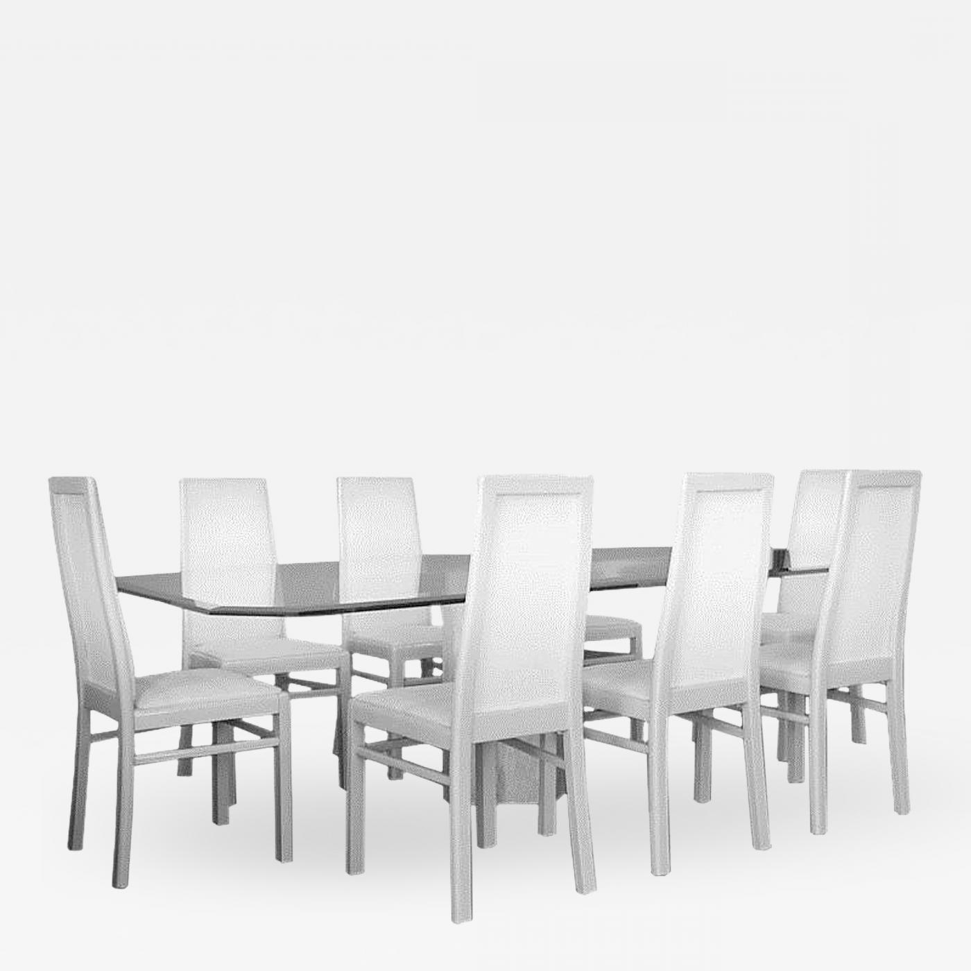Dining Tables For Eight pertaining to Most Recent American Travertine Base Dining Table And Eight Chairs