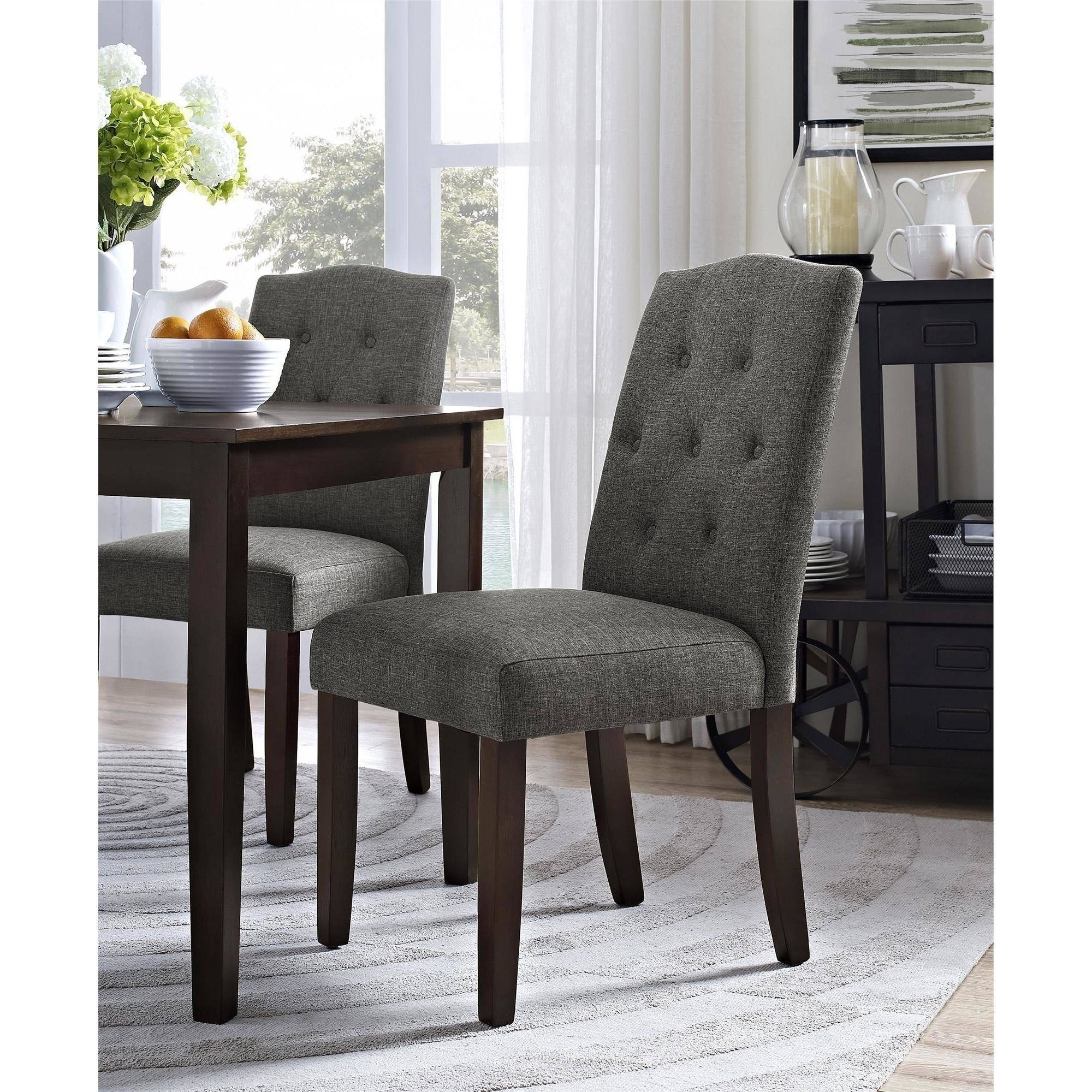 Dining Tables Grey Chairs For Most Recent Better Homes And Gardens Parsons Tufted Dining Chair, Multiple (View 7 of 25)