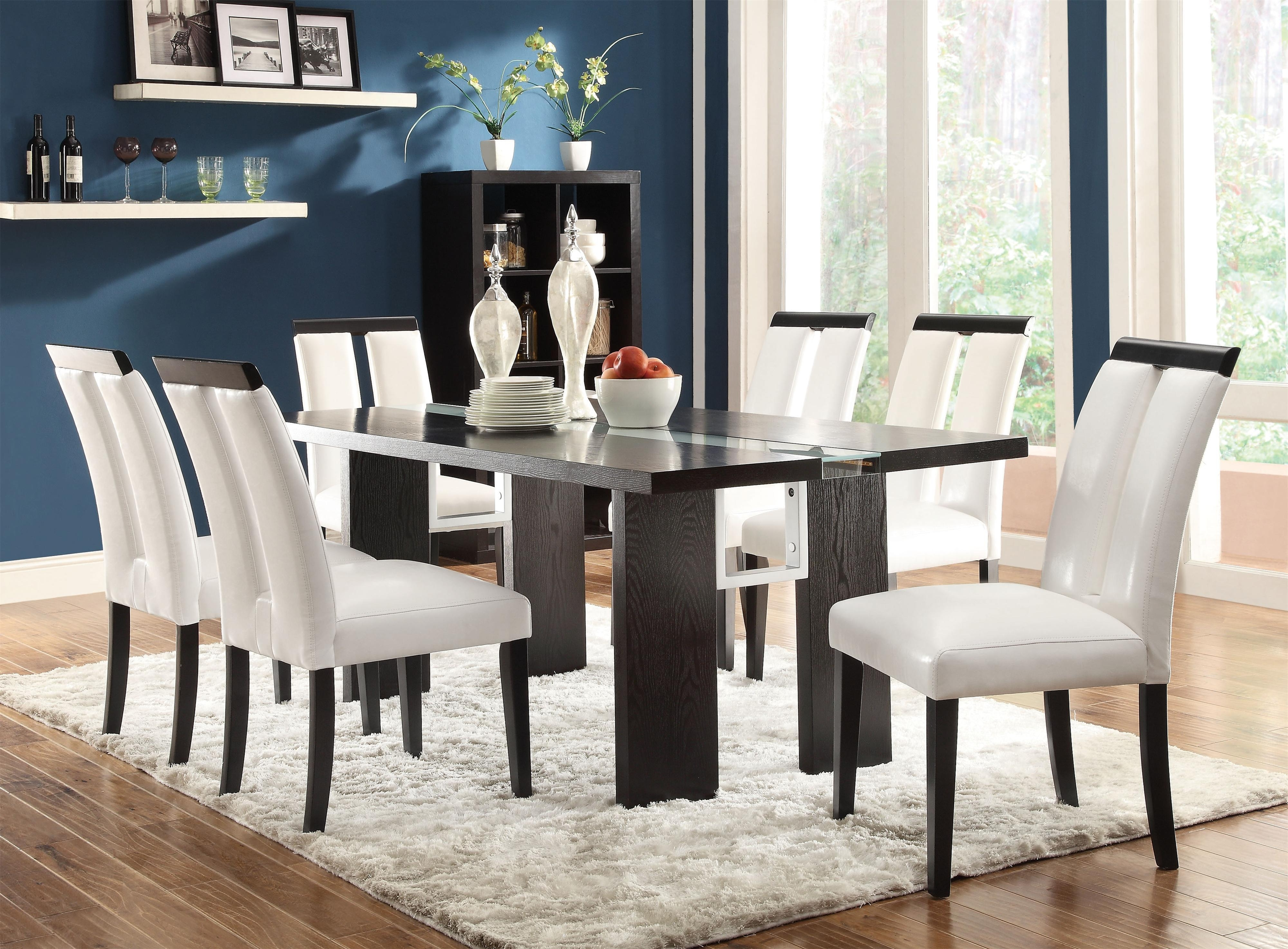 Dining Tables Lights Throughout Popular Coaster Kenneth 7 Piece Set With Led Lit Dining Table (View 12 of 25)