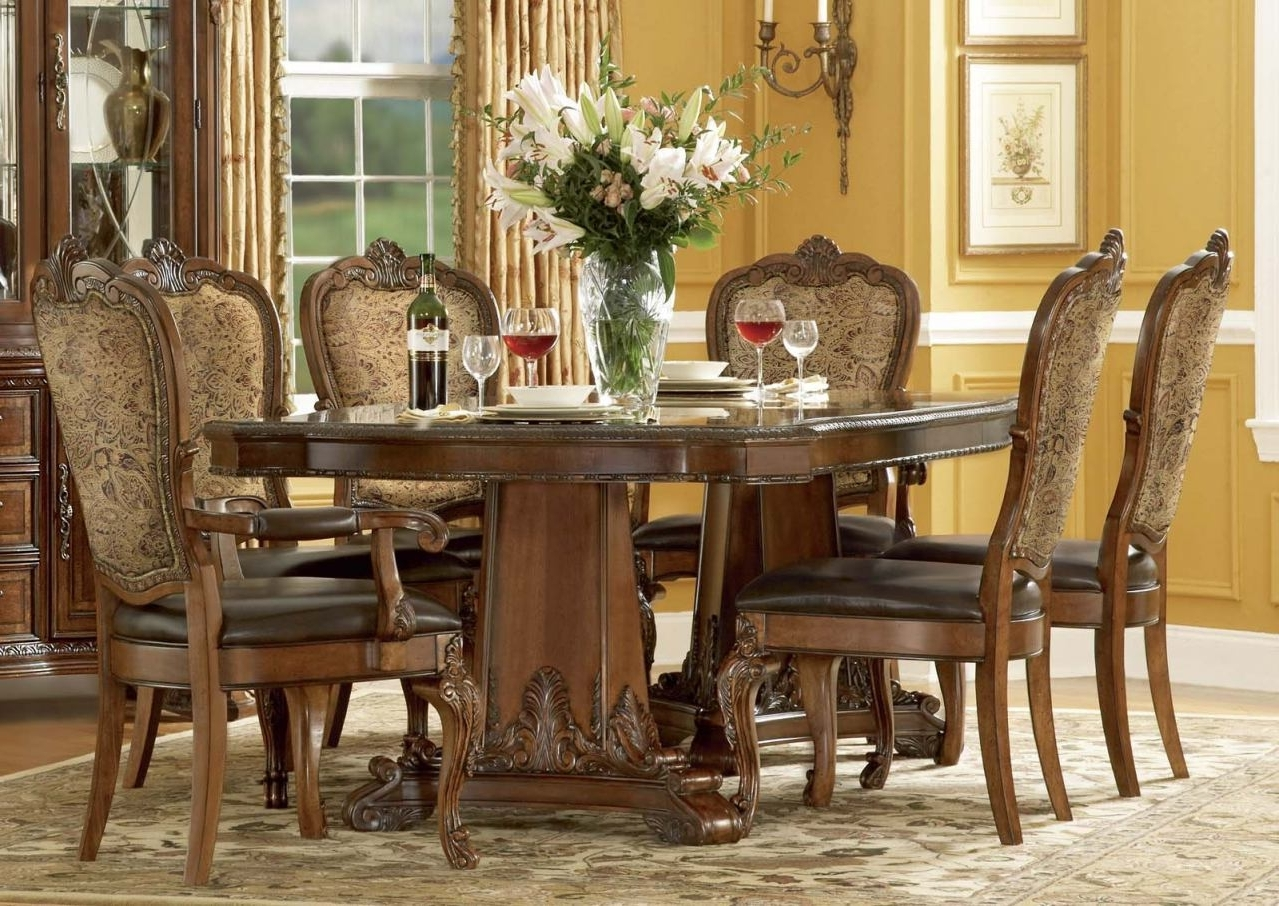Dining Tables New York Inside Most Up To Date A.r.t. Old World 7 Pc Double Pedestal Dining Set In Cherrydining (Gallery 20 of 25)