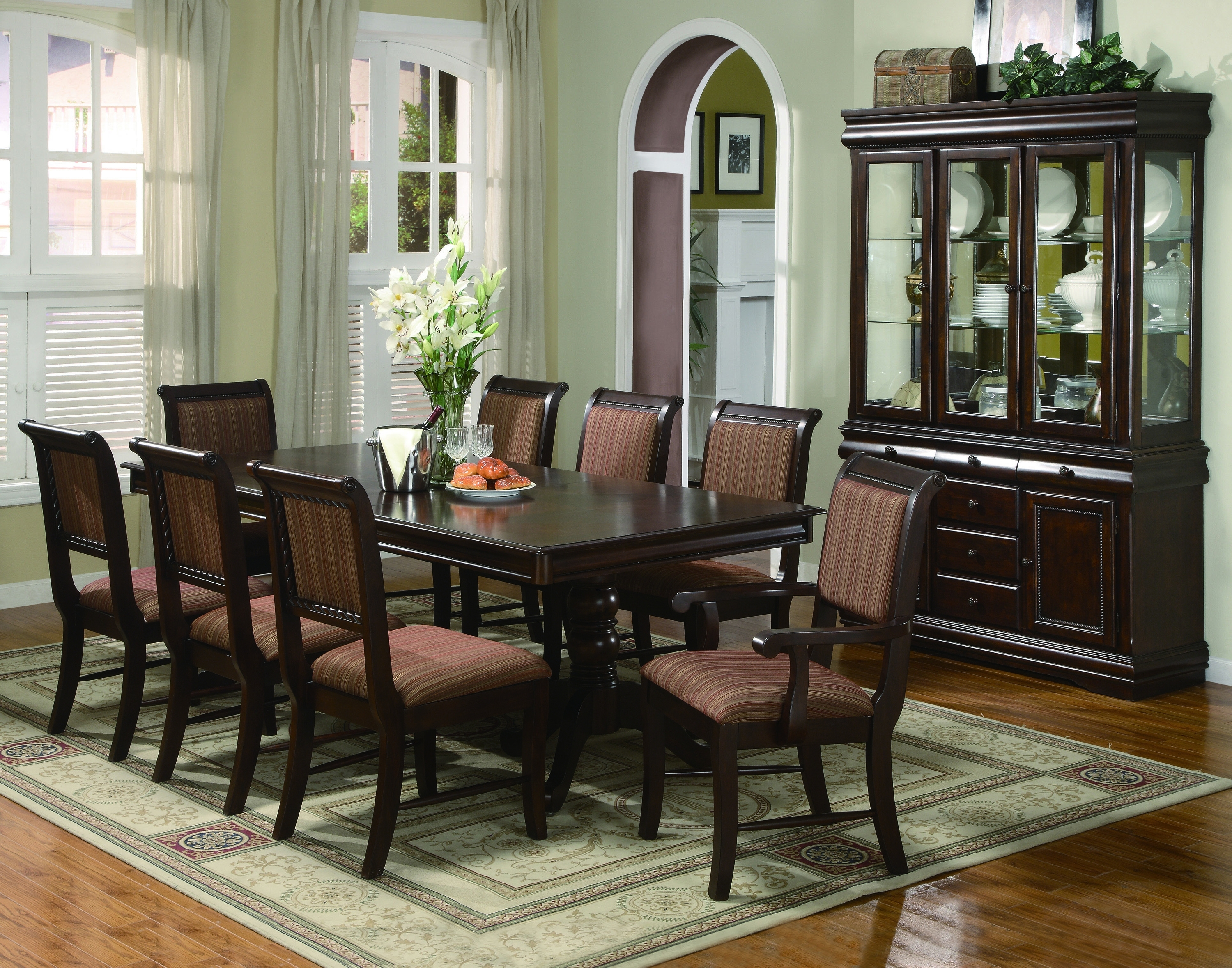 Dining Tables Set For 8 In Well Known Crown Mark 2145 Merlot 11 Pieces Traditonal Dining Table Set (View 9 of 25)