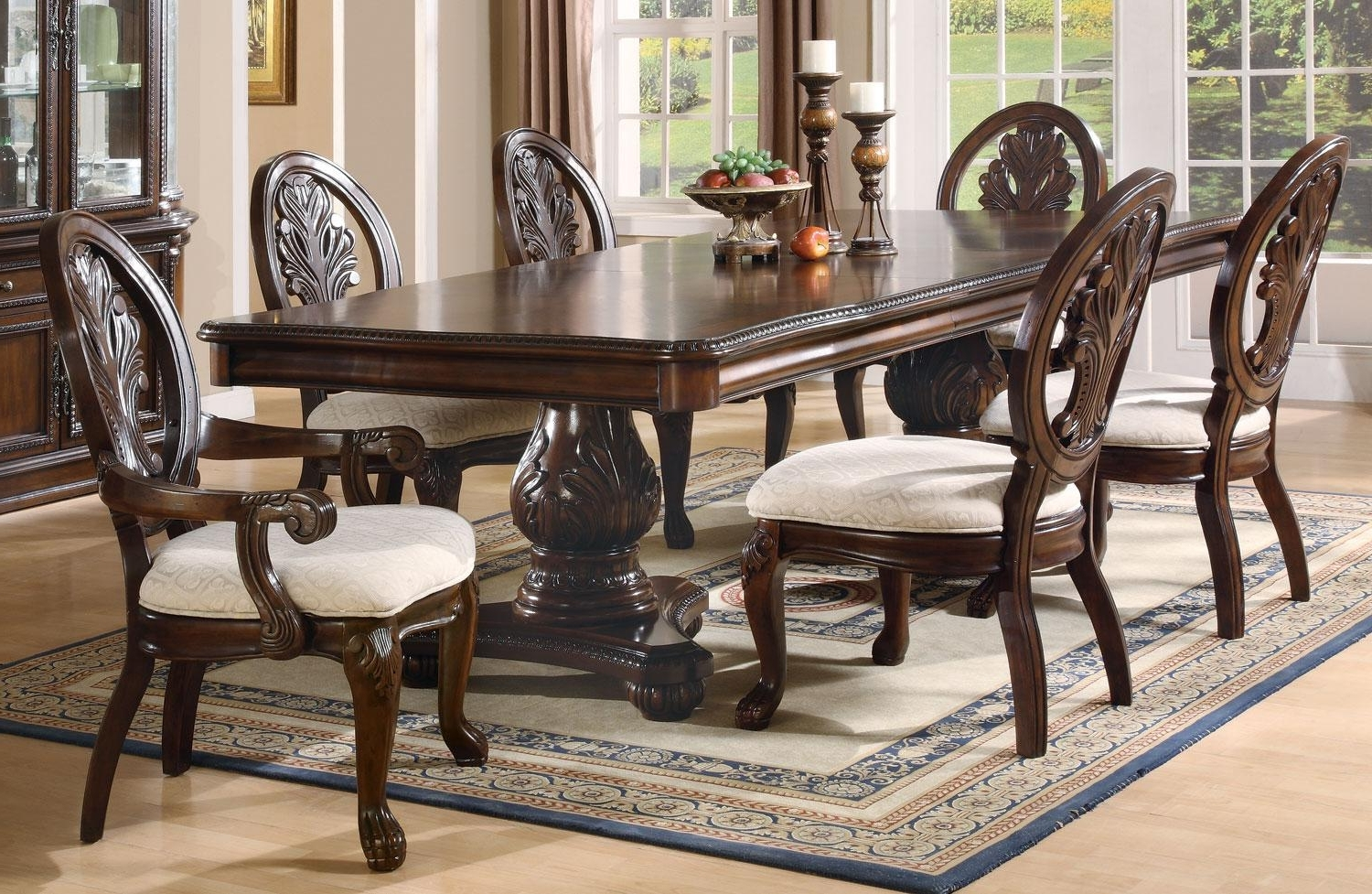 Dining Tables Sets regarding Current Coaster Tabitha 7Pc Double Pedestal Dining Table Set Dallas Tx