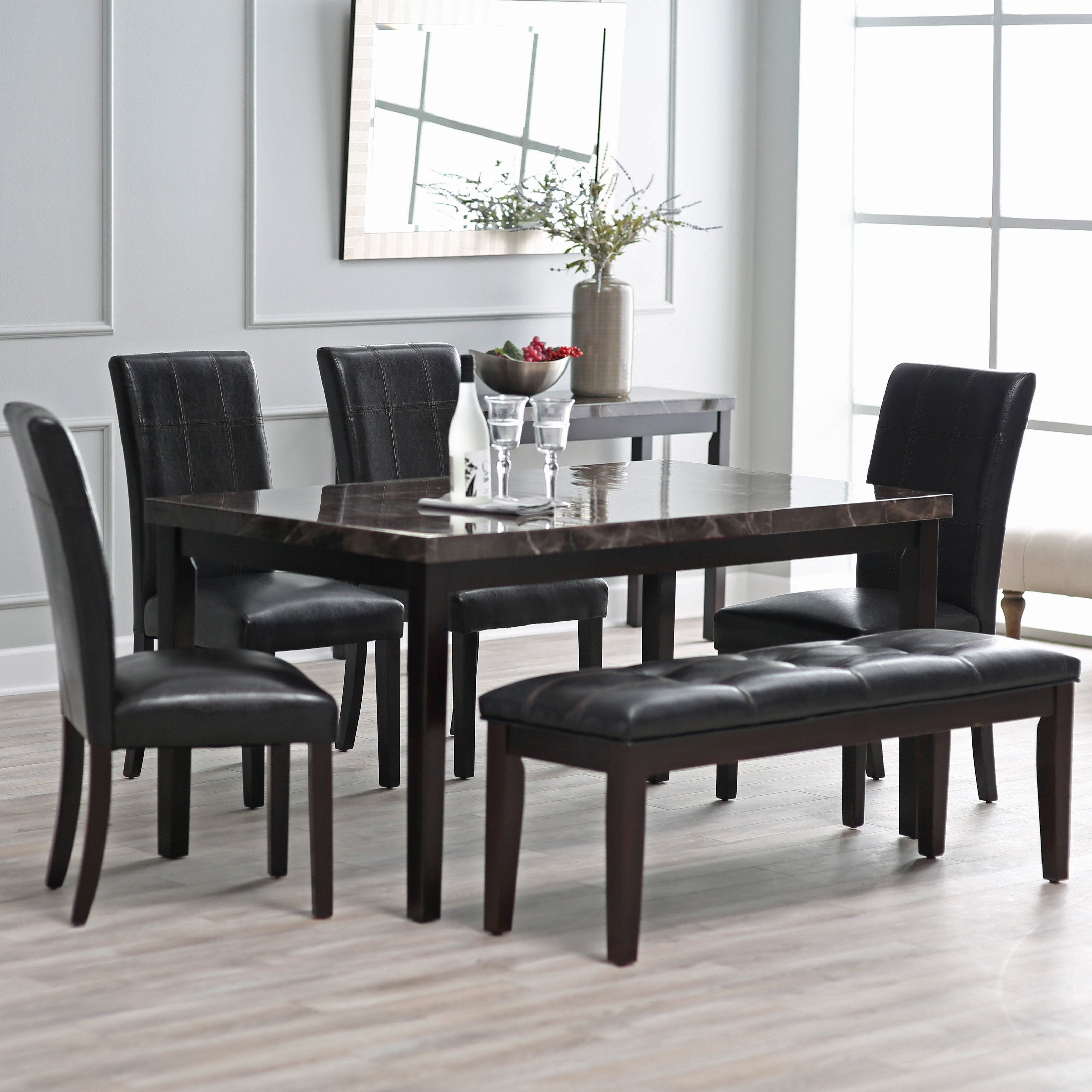 Dining Tables Sets with Most Recent Finley Home Milano 6 Piece Dining Table Set