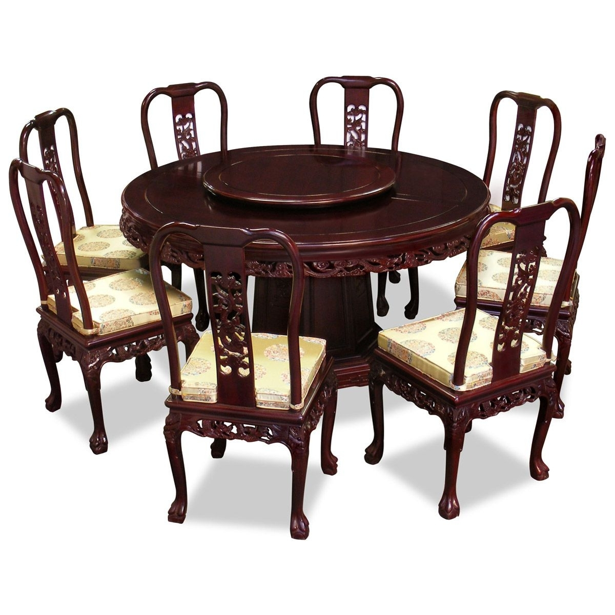 Dining Tables With 8 Chairs inside Favorite 60In Rosewood Imperial Dragon Design Round Dining Table With 8