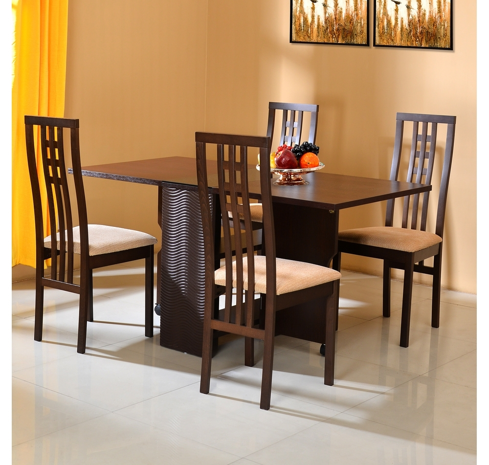 Dining Tables With Fold Away Chairs With Regard To Best And Newest Buy Gypsy 4 Seater Dining Set – @homenilkamal, Dark Walnut (View 24 of 25)